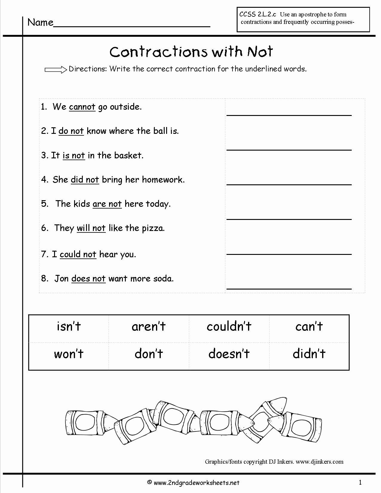 50 Contractions Worksheet 2nd Grade