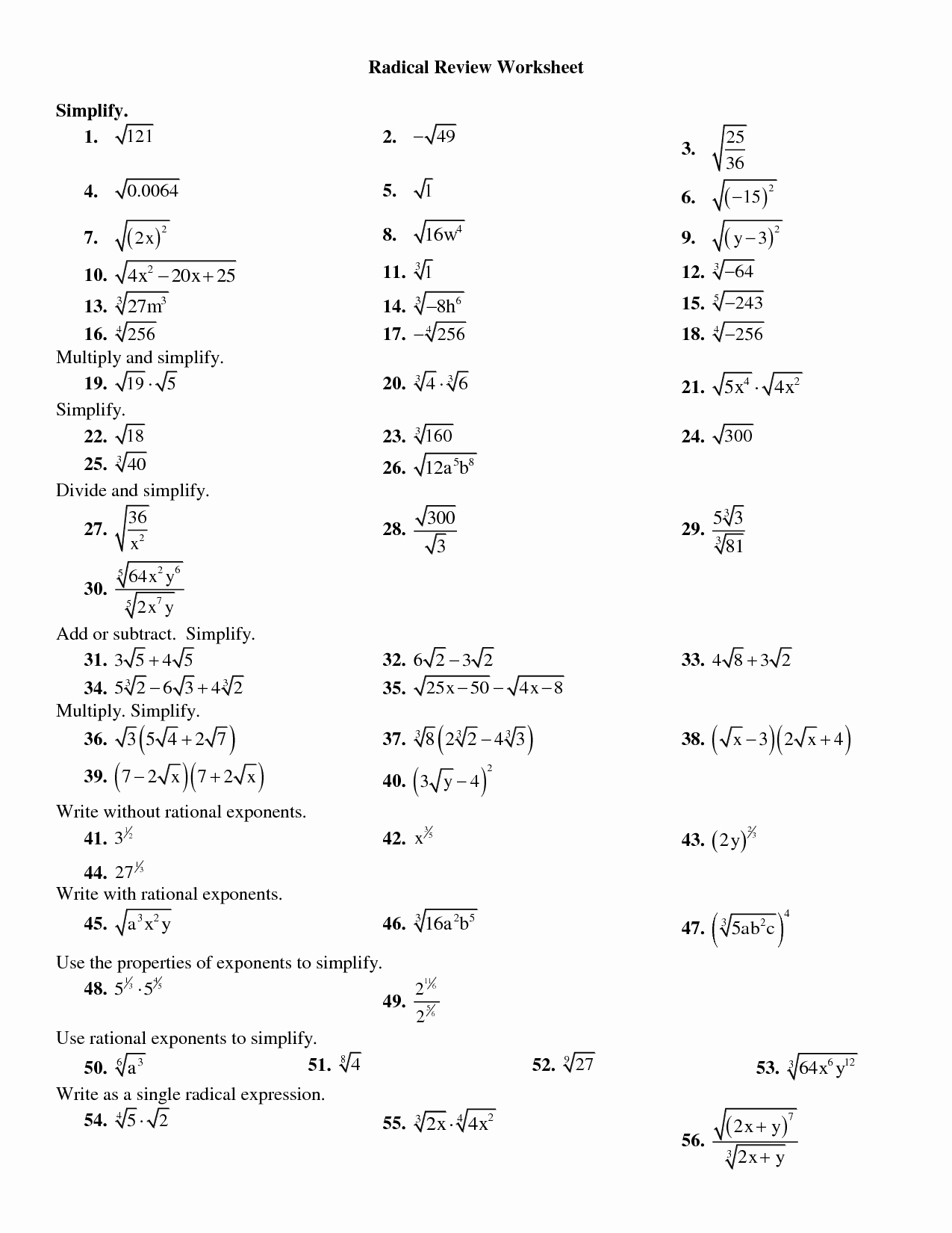 50 Dividing Radical Expressions Worksheet