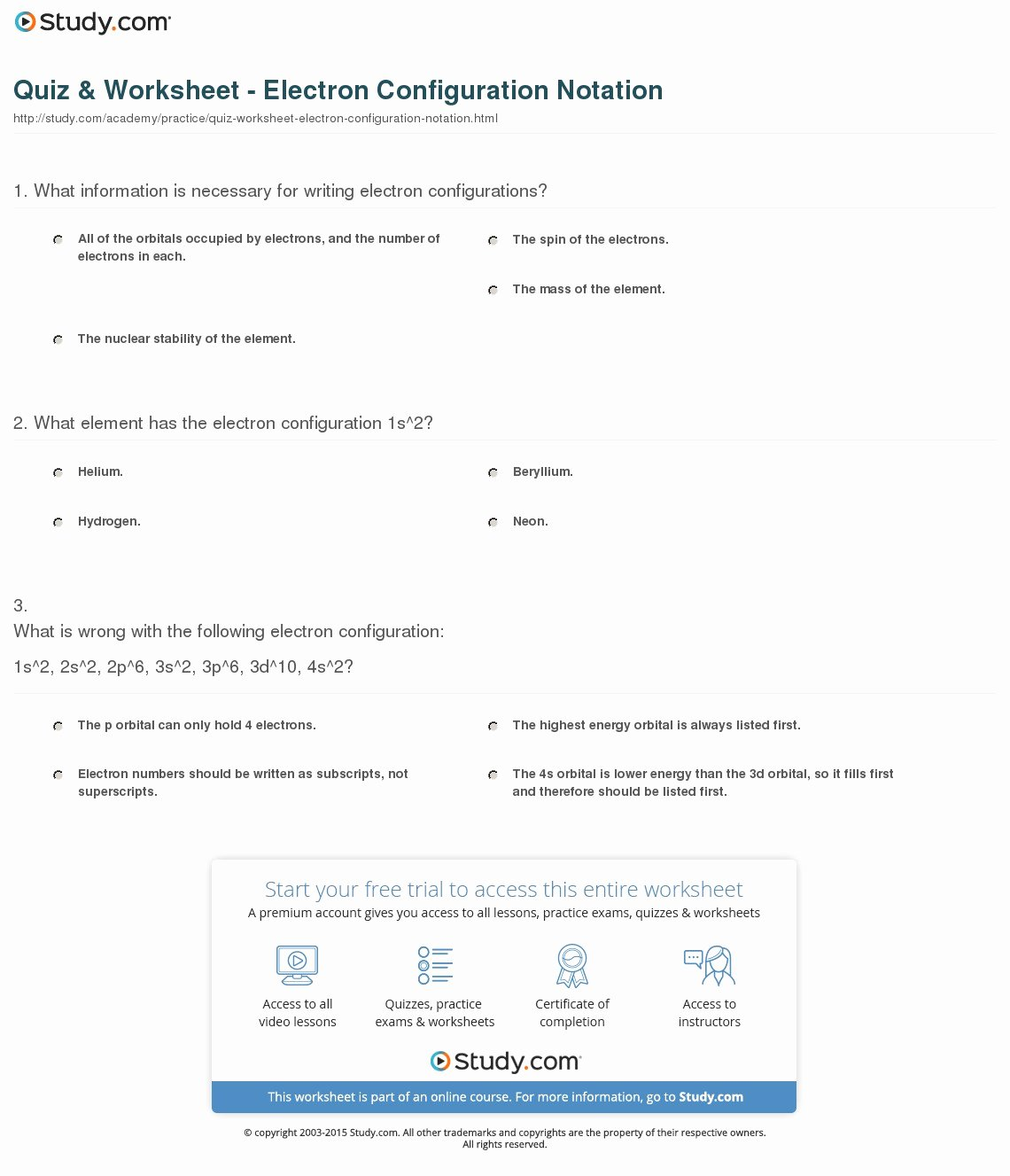 45 Electron Configuration Practice Worksheet