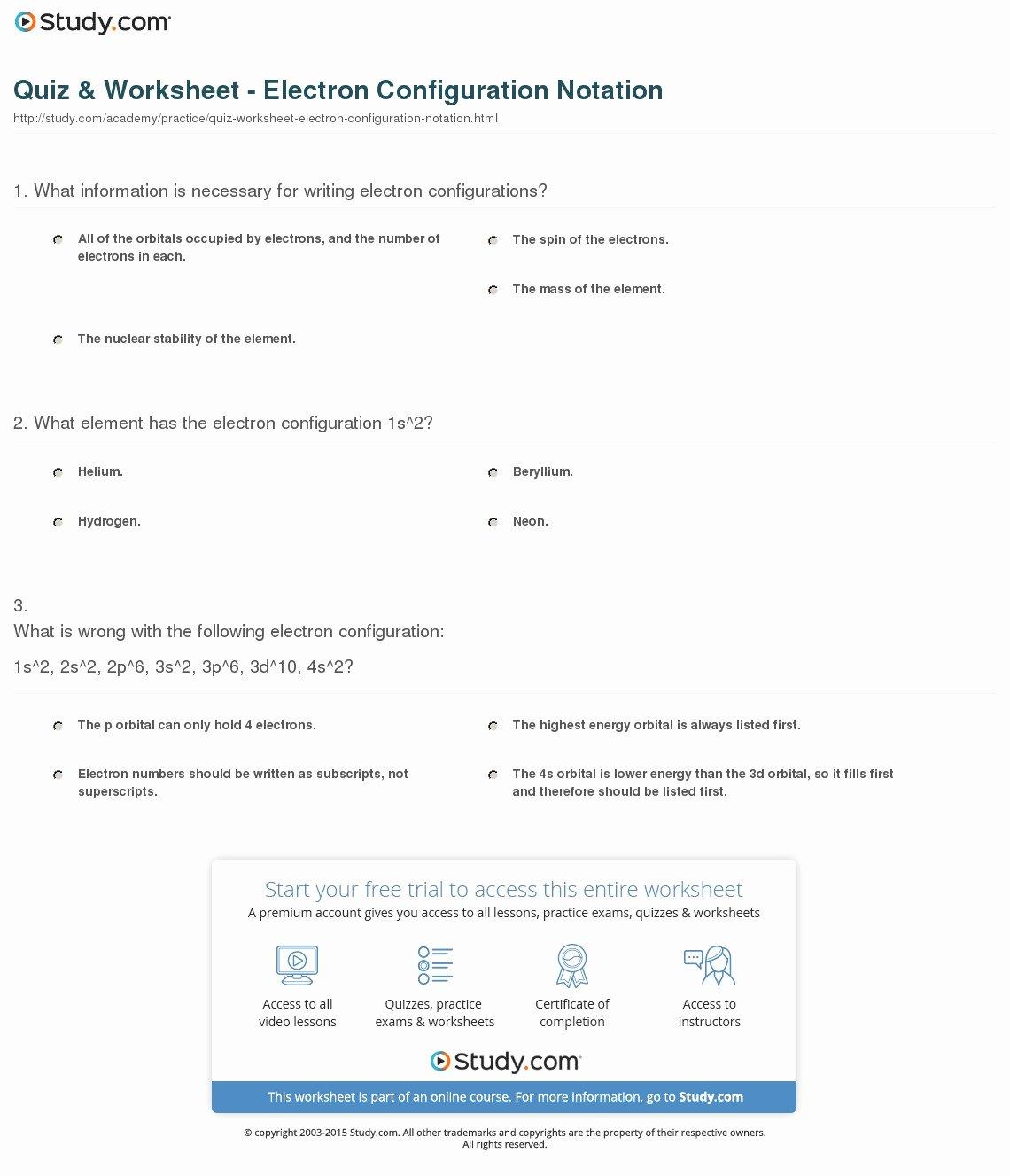 47 Electron Configuration Worksheet Answers