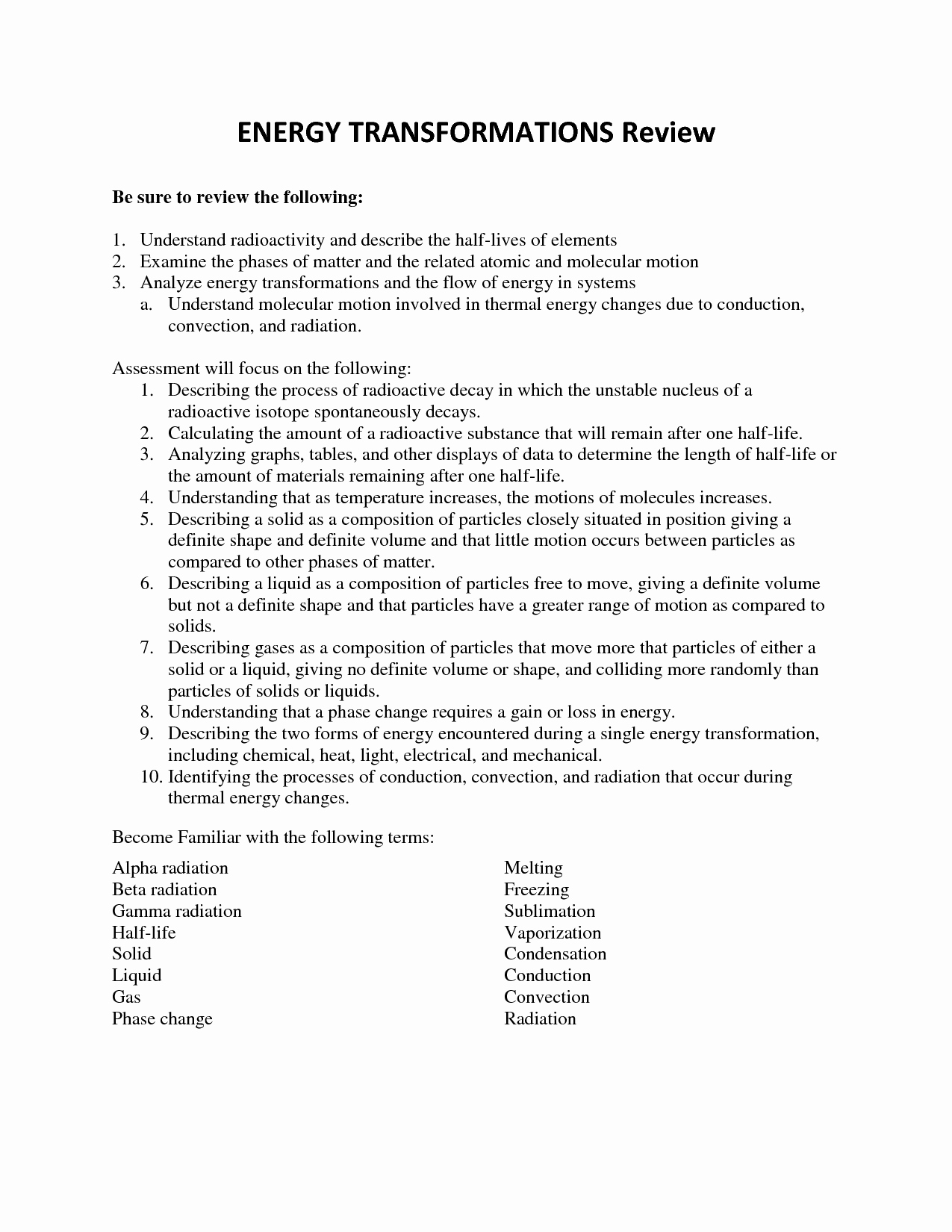 50 Energy Transformation Worksheet Middle School