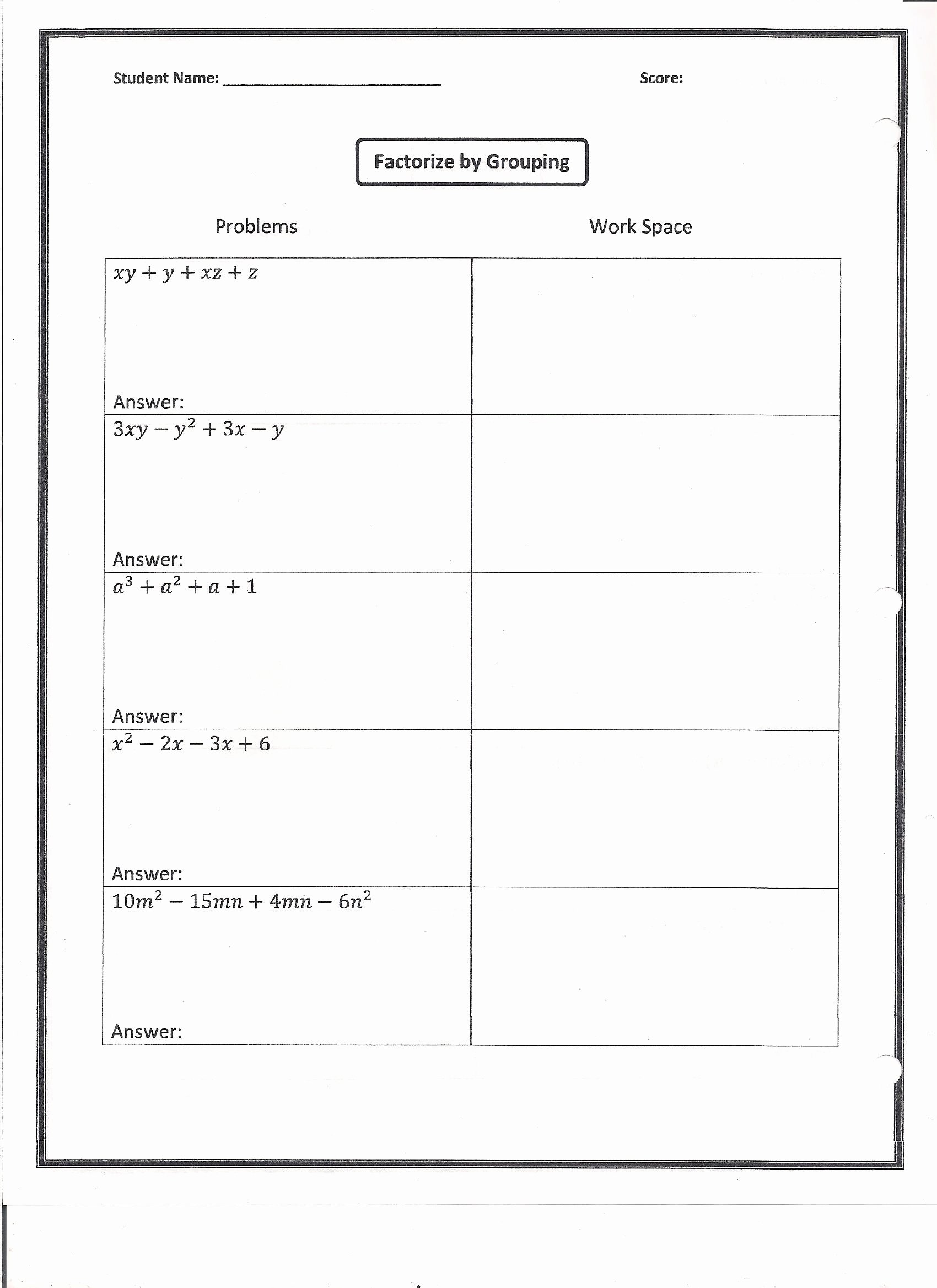 50 Factoring By Grouping Worksheet Answers