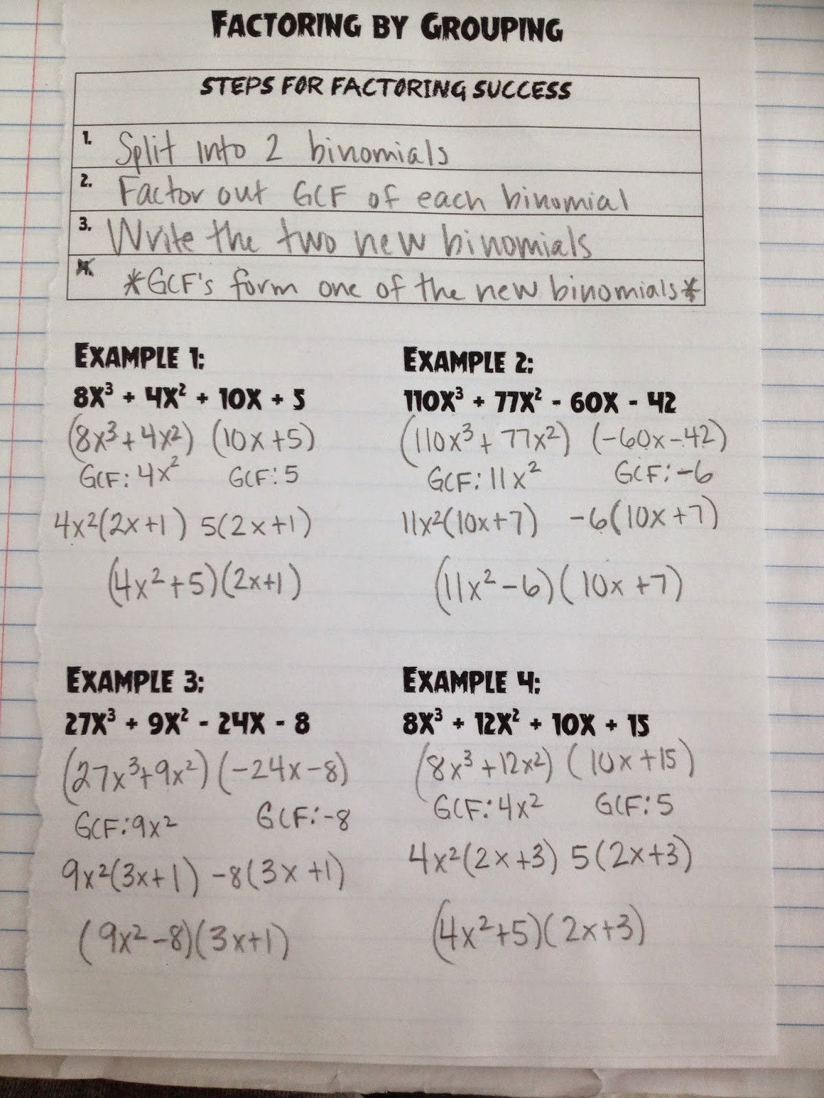Free Worksheet On Factoring By Grouping