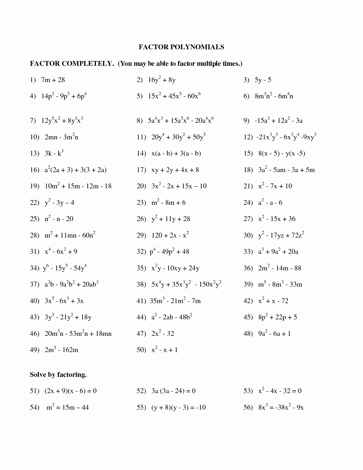 50 Factoring Polynomials Worksheet Answers