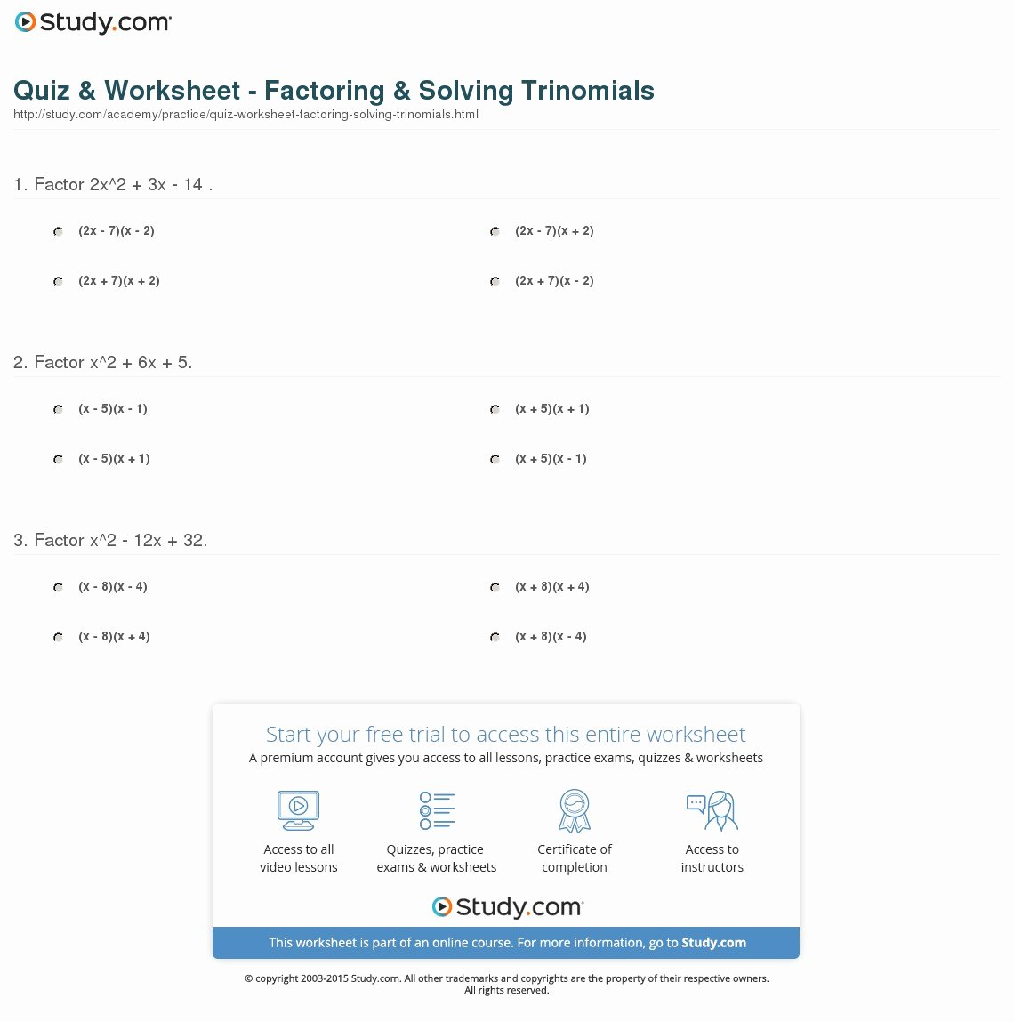 46 Factoring Quadratic Trinomials Worksheet