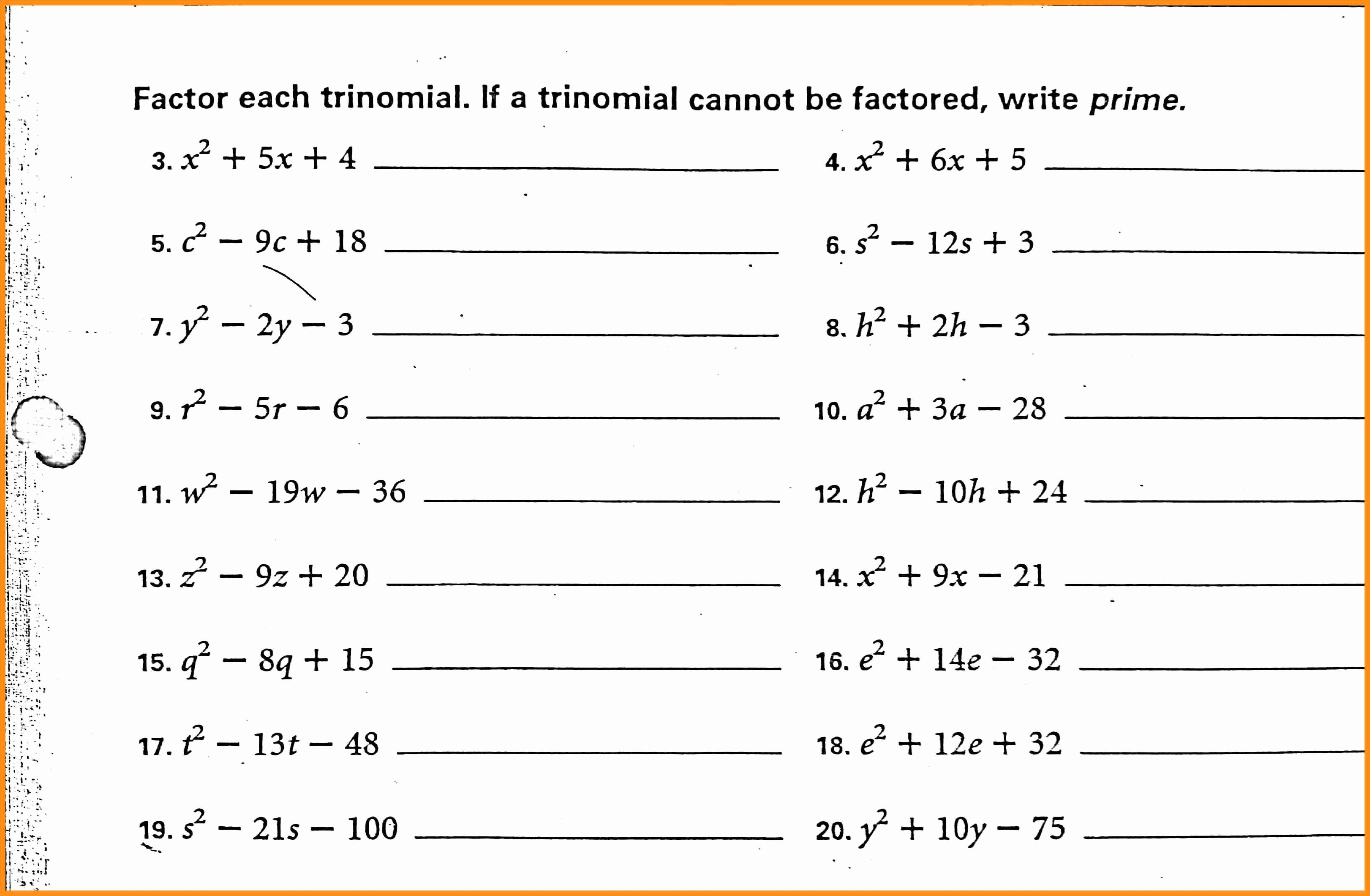 50 Factoring Trinomials Practice Worksheet