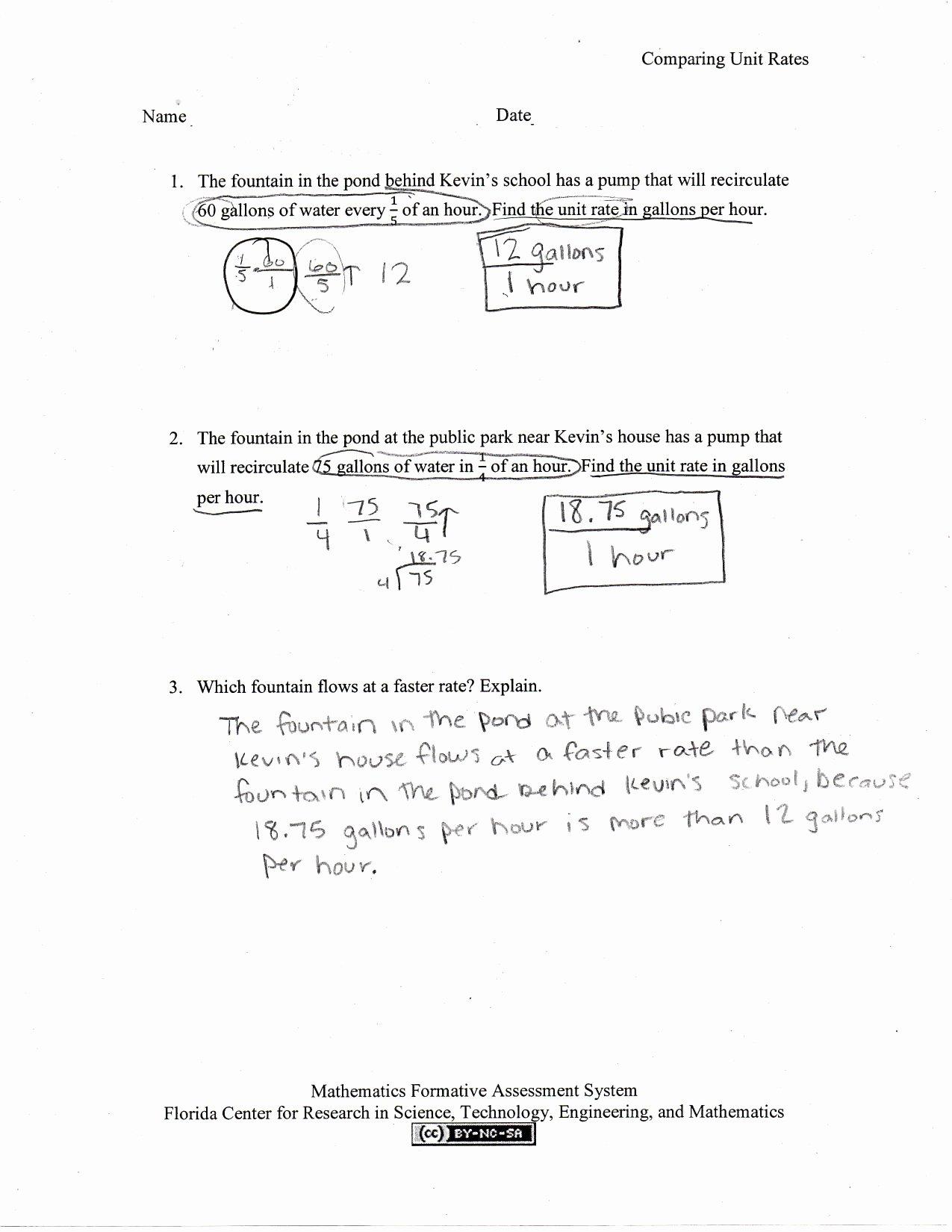 Finding Unit Rates Worksheet Inspirational Paring Unit