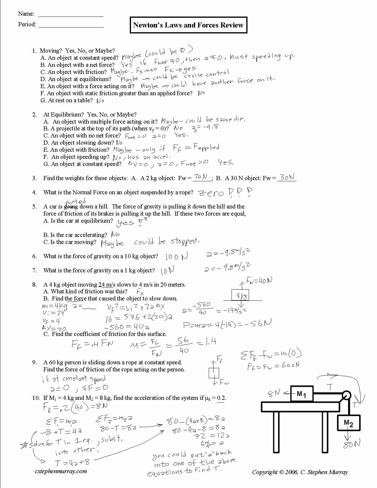 50 Forces Worksheet 1 Answer Key