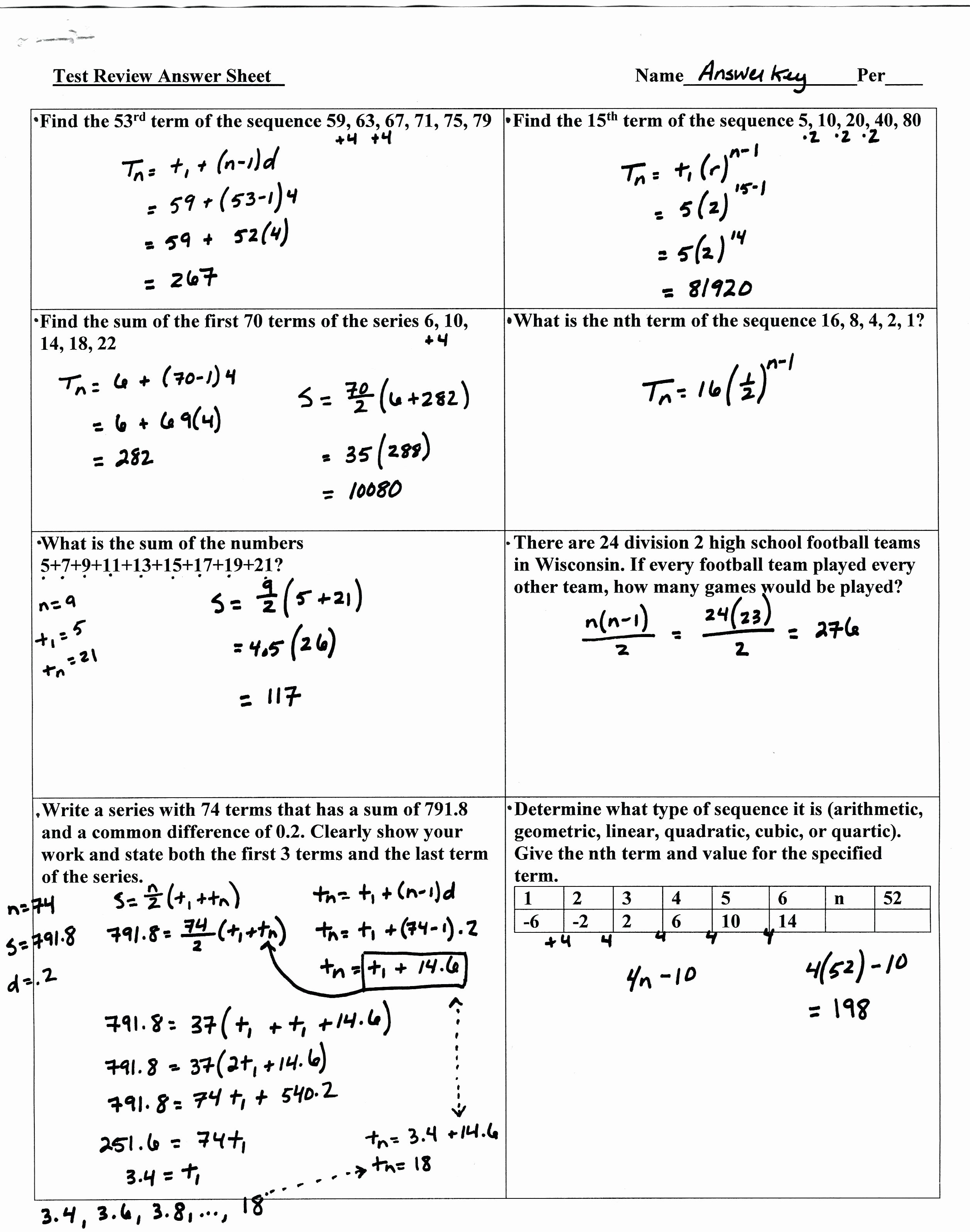 50 Geometric Sequence Practice Worksheet