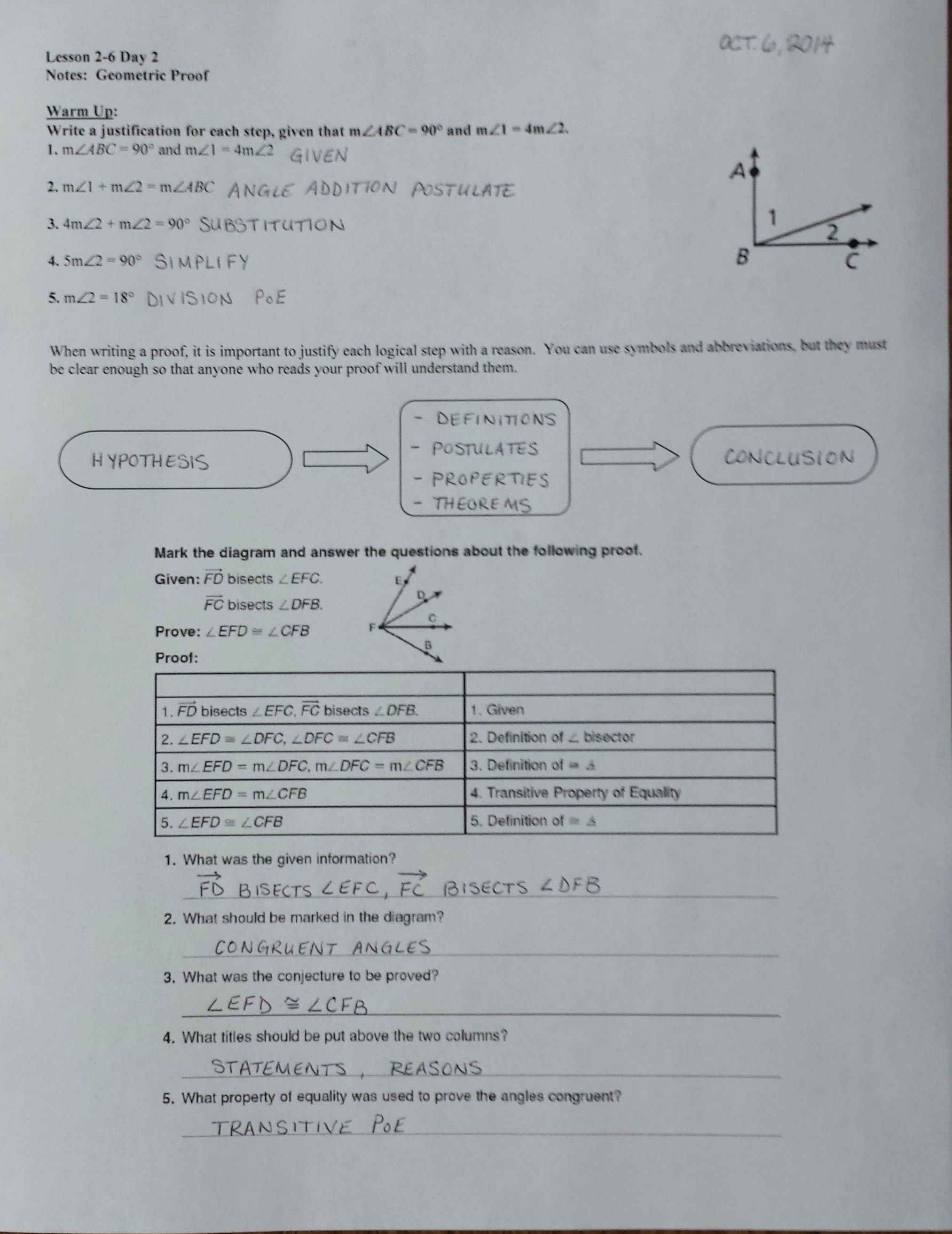 50 Geometry Worksheet Beginning Proofs Answers