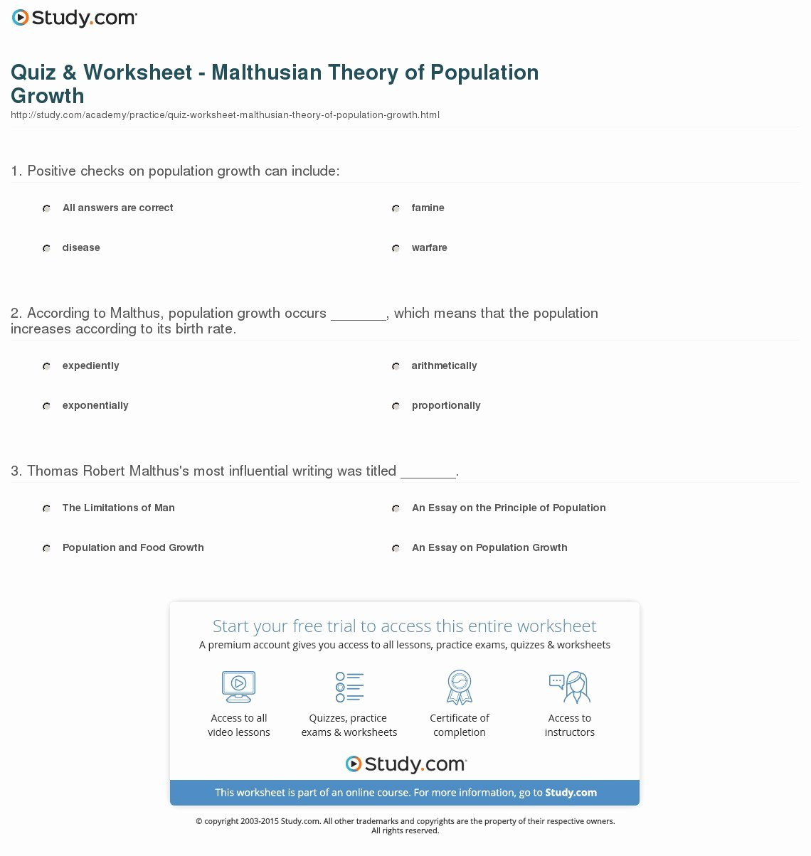 50 Human Population Growth Worksheet