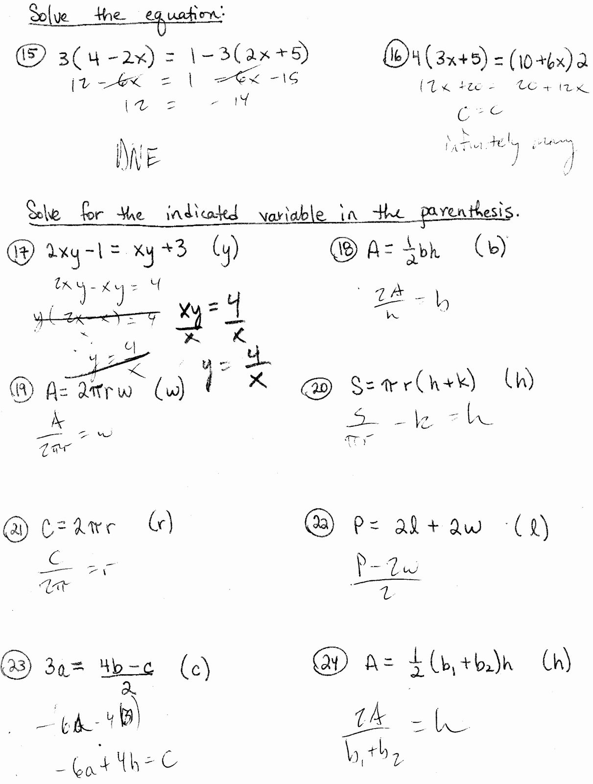 50 Literal Equations Worksheet Answer Key