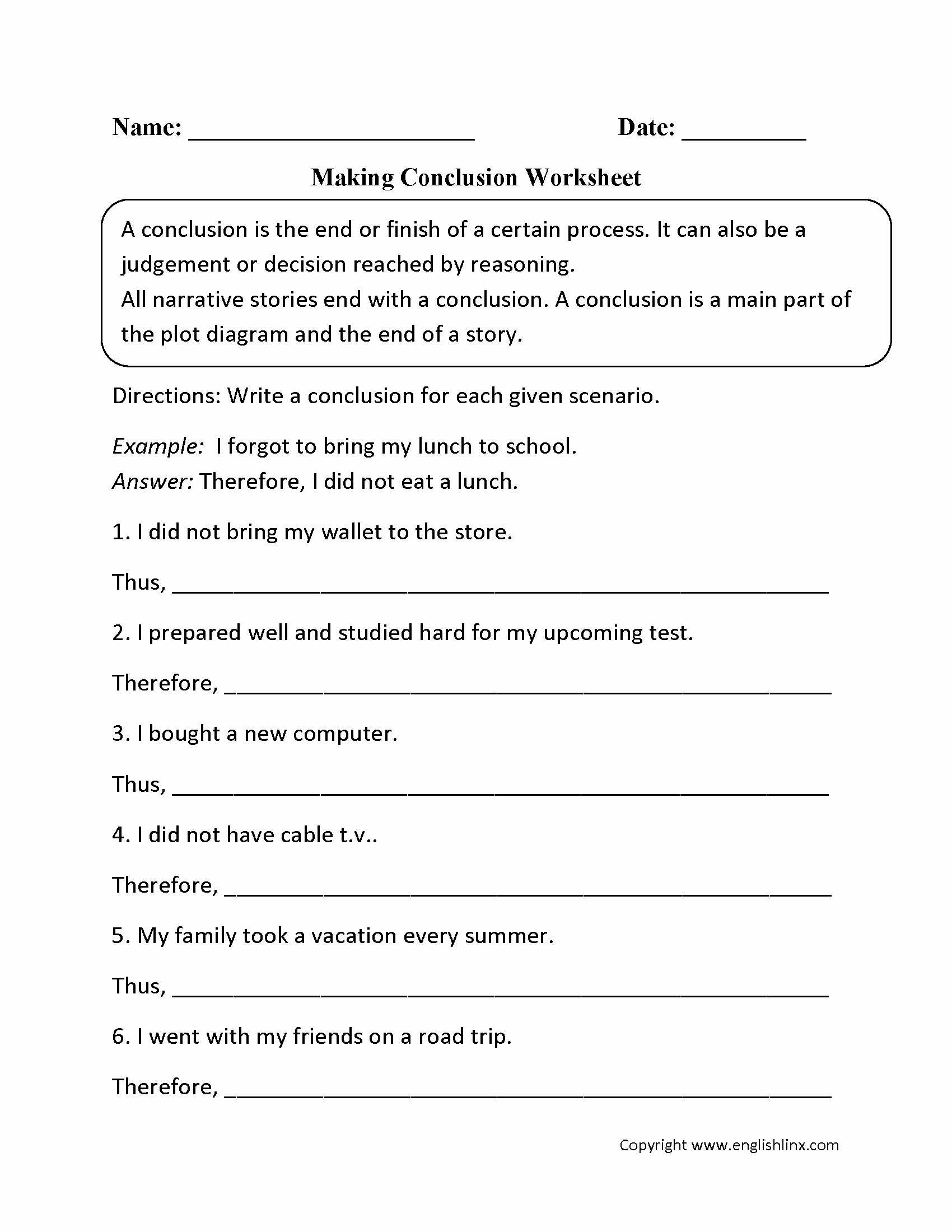 Making Conclusions Geometry Worksheet Answers