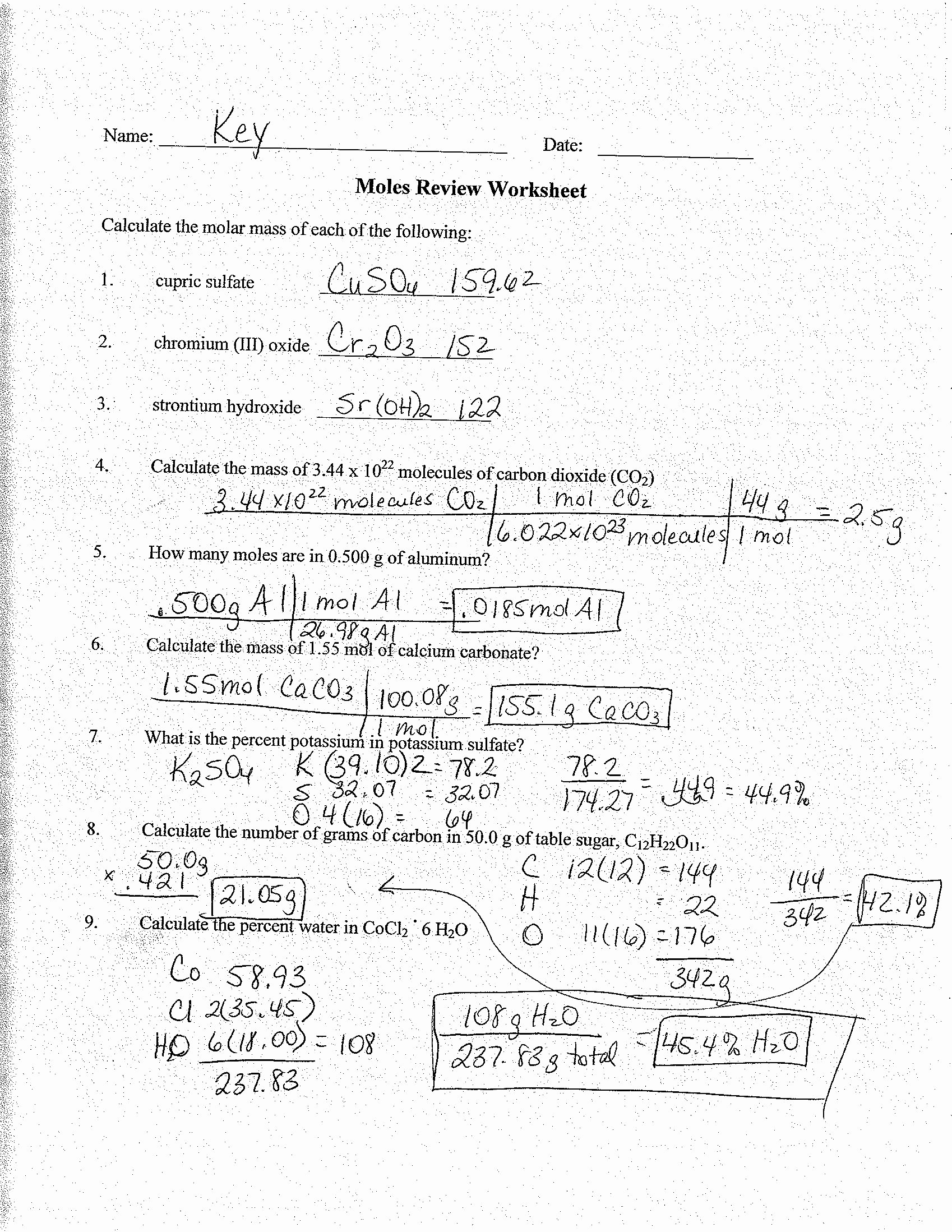 42 Molar Conversion Worksheet Answers