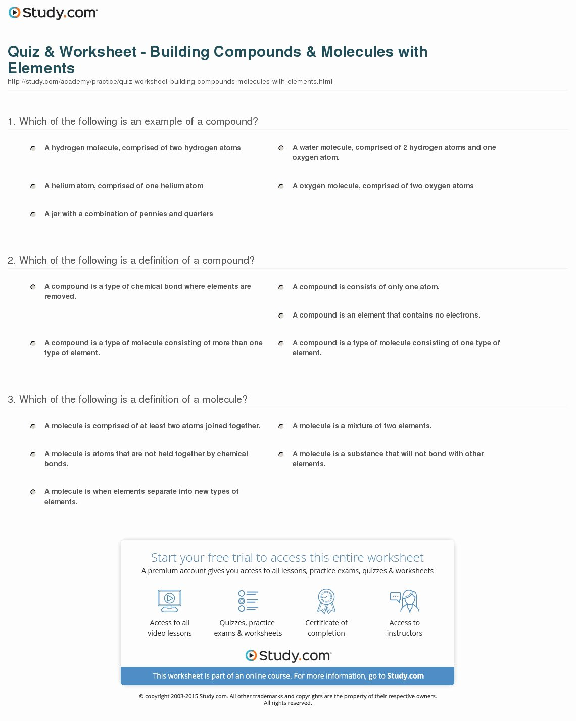 50 Molecules And Compounds Worksheet