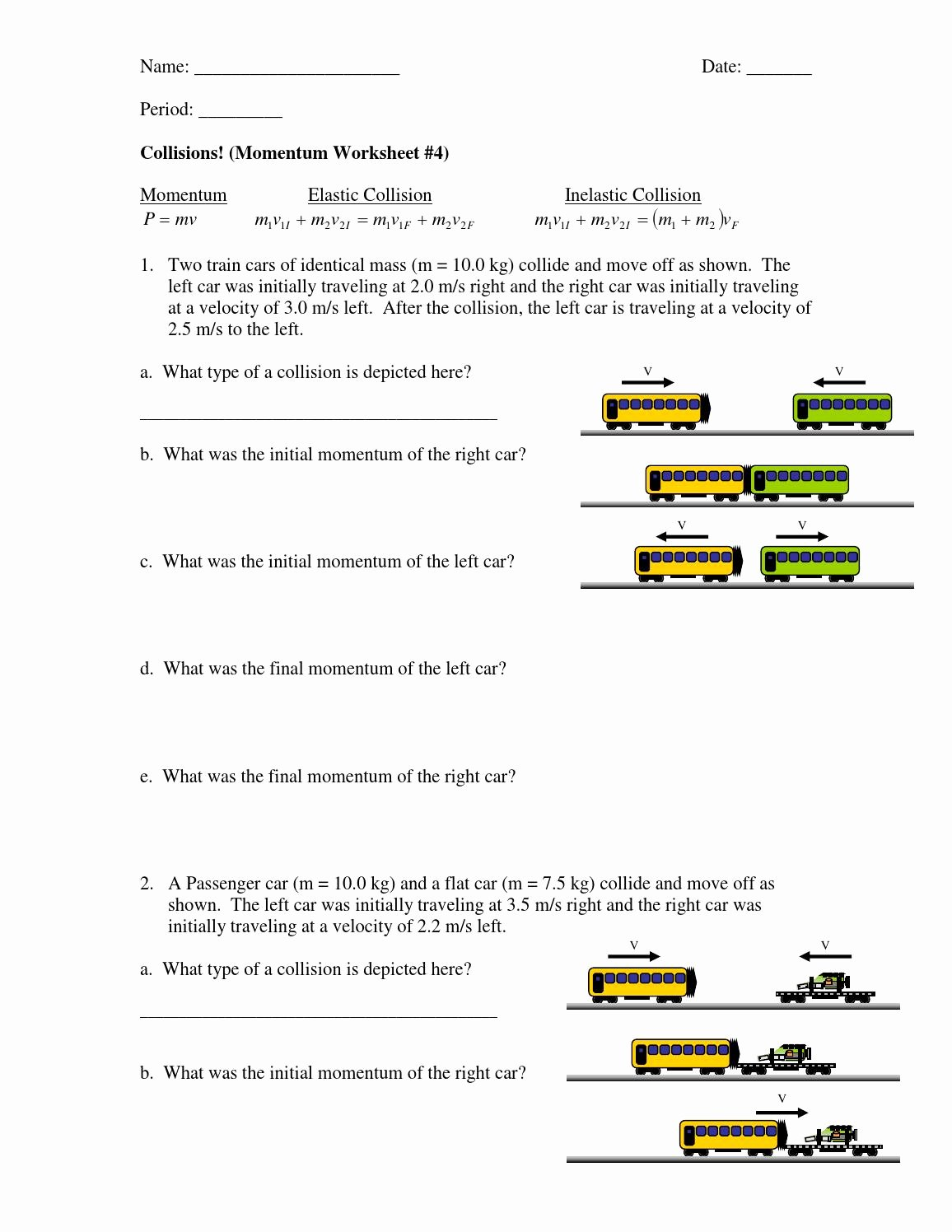 50 Momentum Worksheet Answer Key