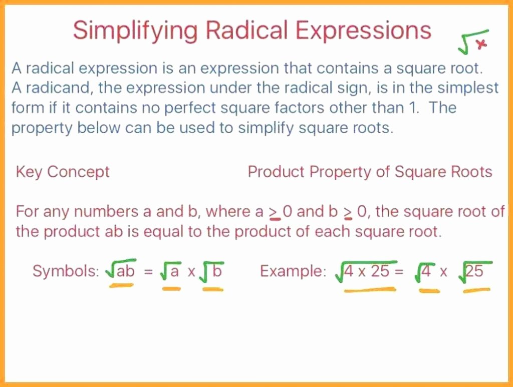 50 Multiply Radical Expressions Worksheet