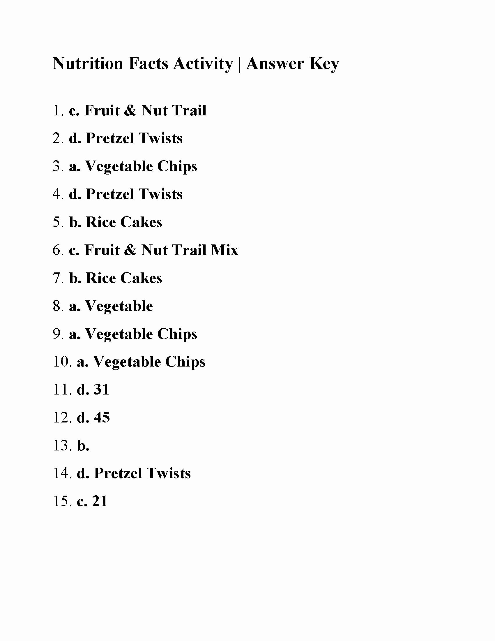 50 Nutrition Label Worksheet Answer Key