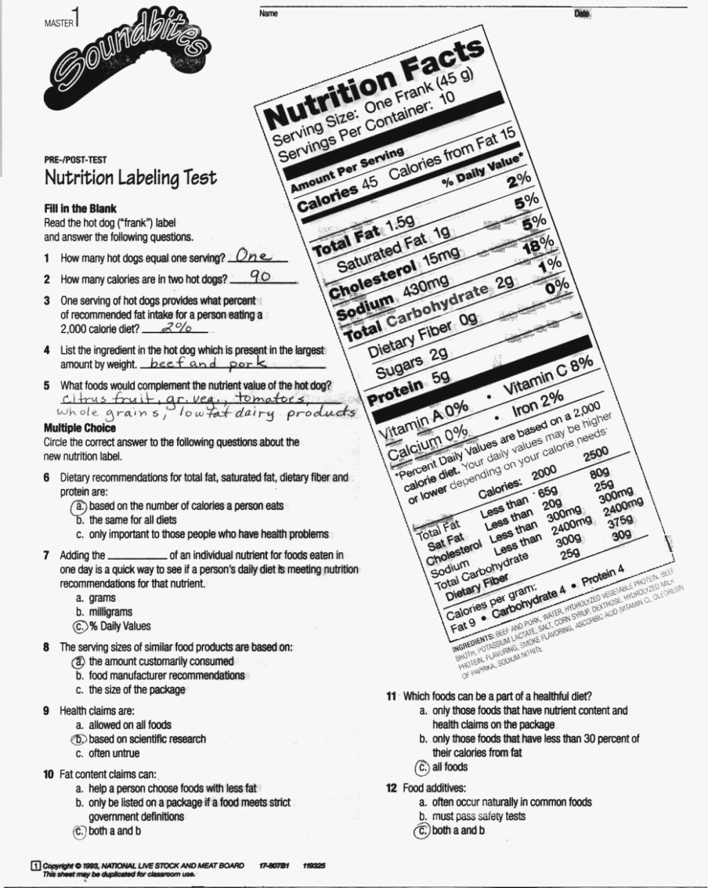 50 Nutrition Label Worksheet Answers