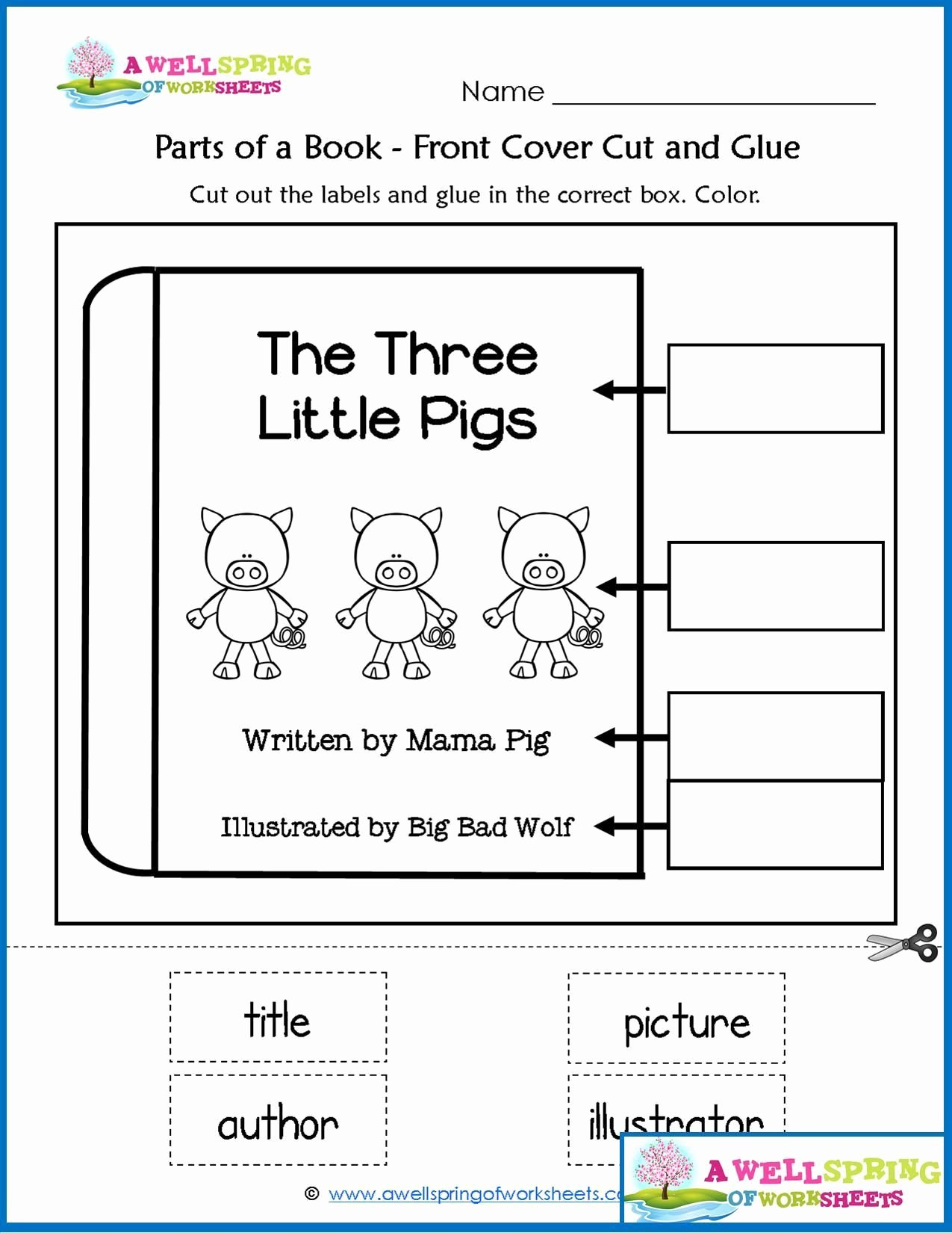 50 Parts Of A Book Worksheet