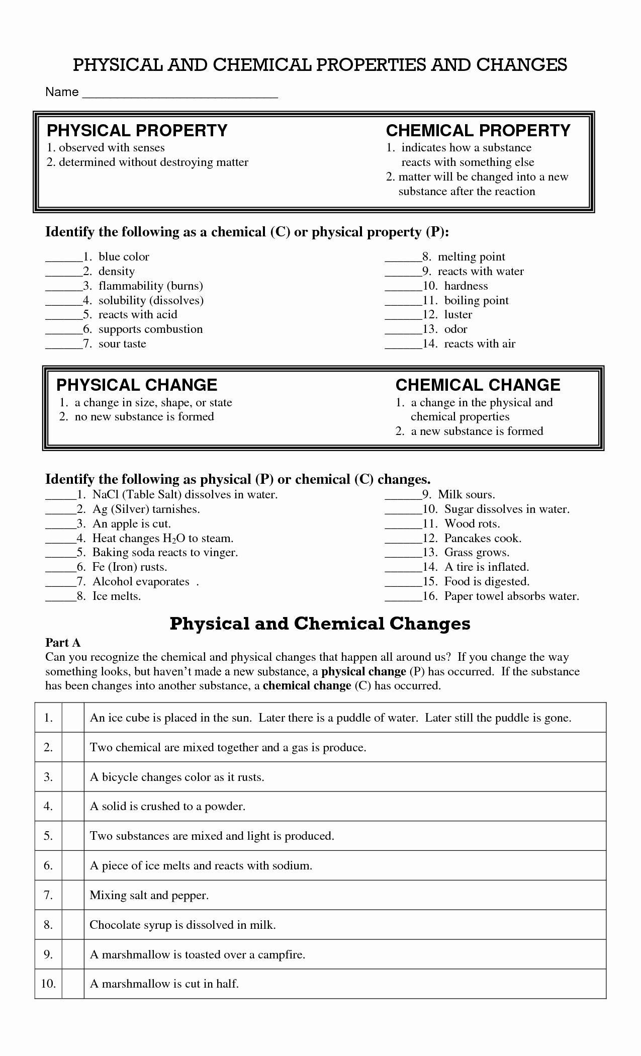 50 Physical And Chemical Changes Worksheet