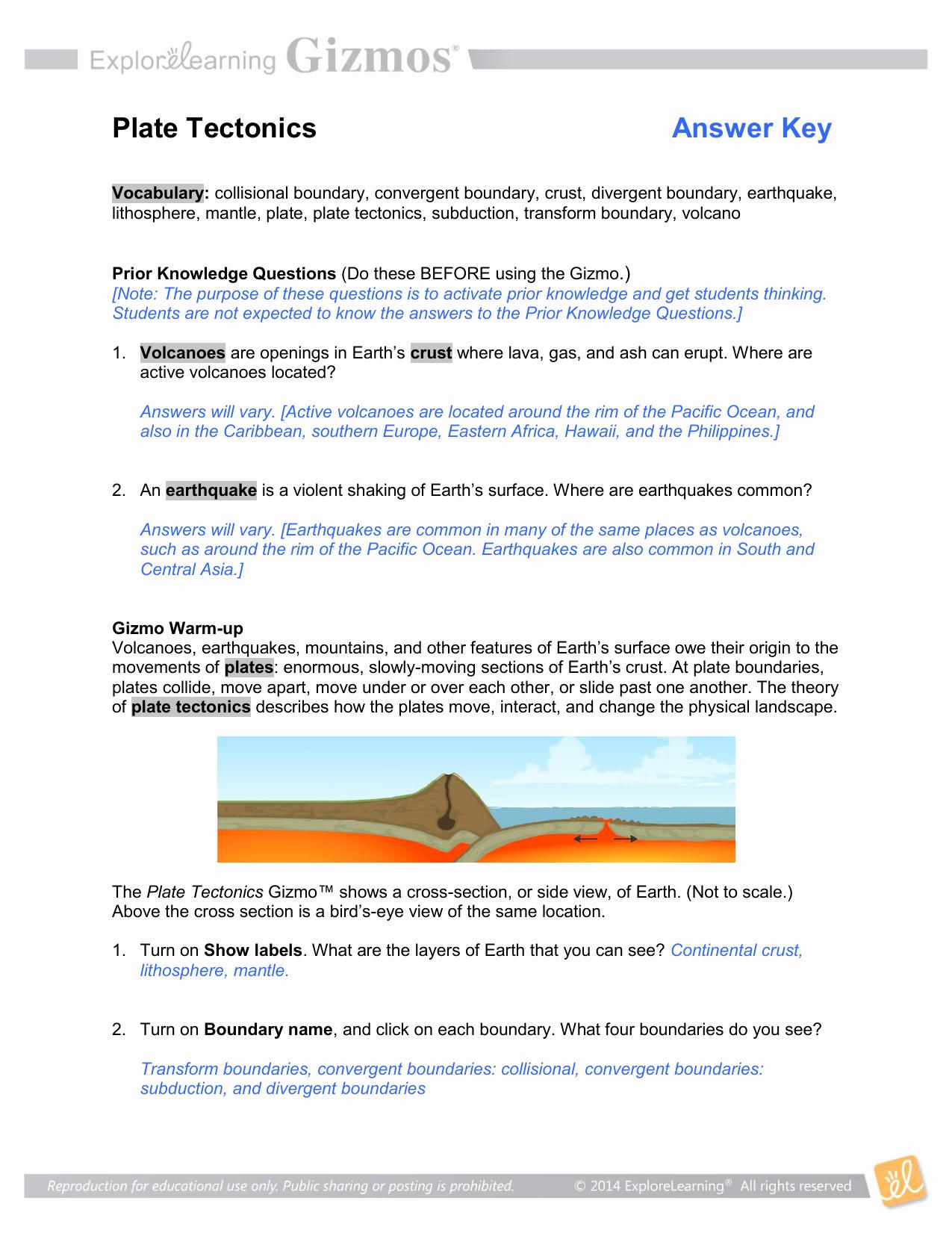 Plate Tectonic Worksheet Answers Fresh Plate Tectonics