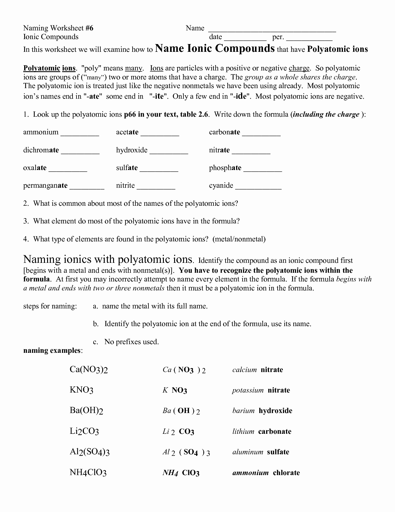 50 Polyatomic Ions Worksheet Answers