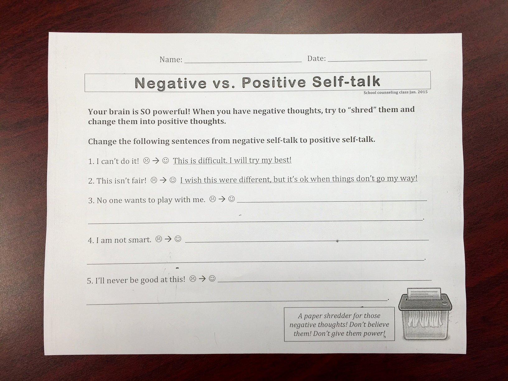 Positive Self Talk Worksheet Elegant Second Grade