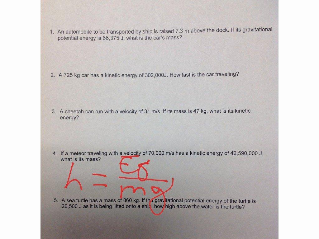 50 Potential Vs Kinetic Energy Worksheet