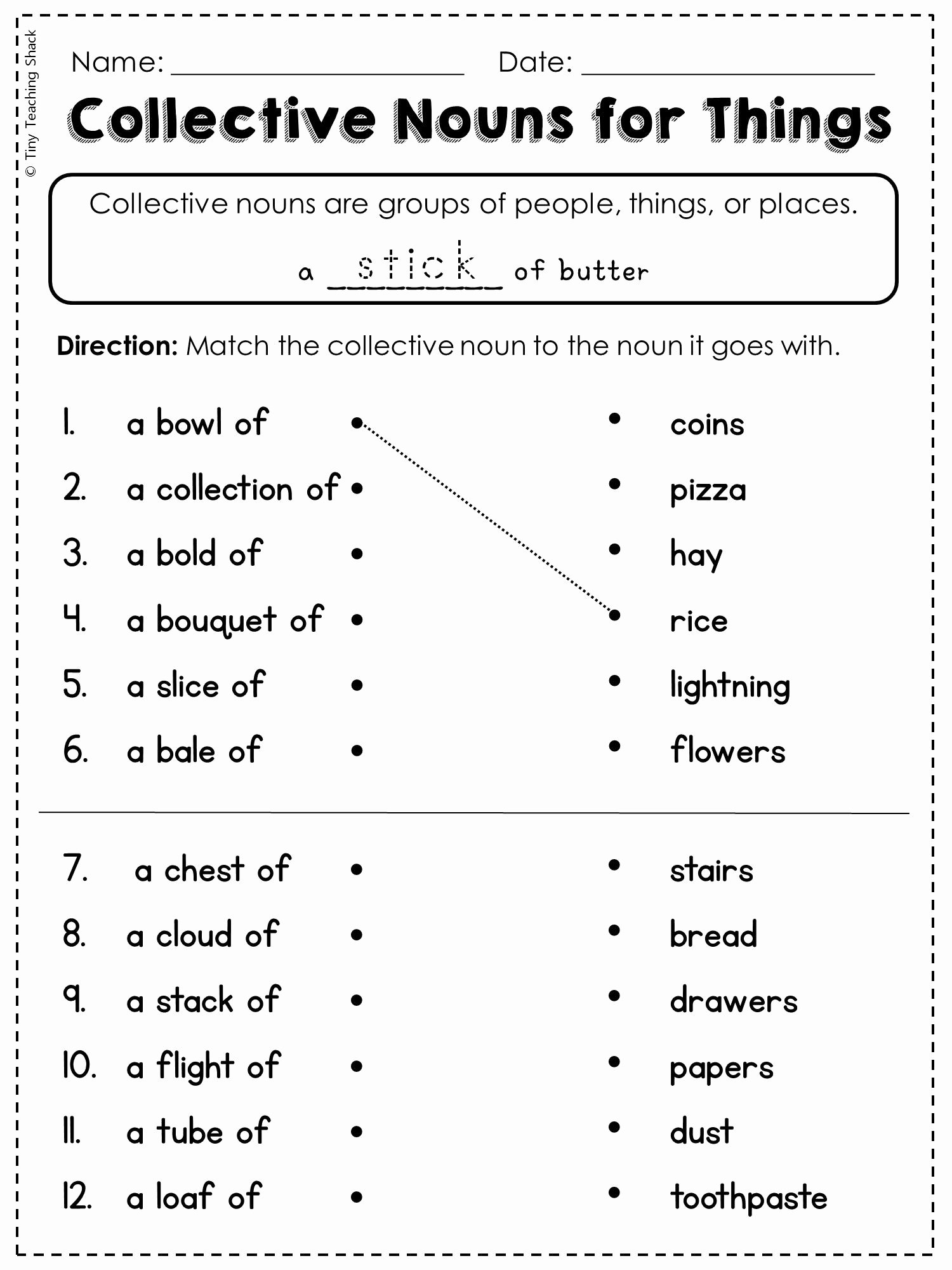 50 Proper Nouns Worksheet 2nd Grade