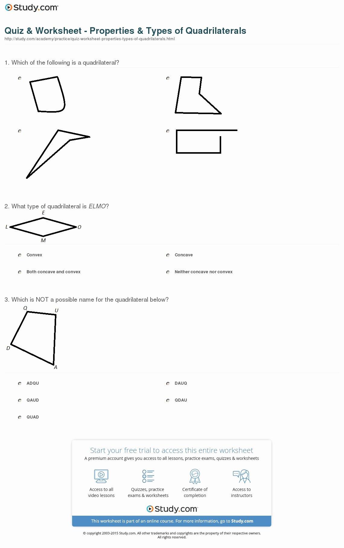 50 Properties Of Quadrilateral Worksheet