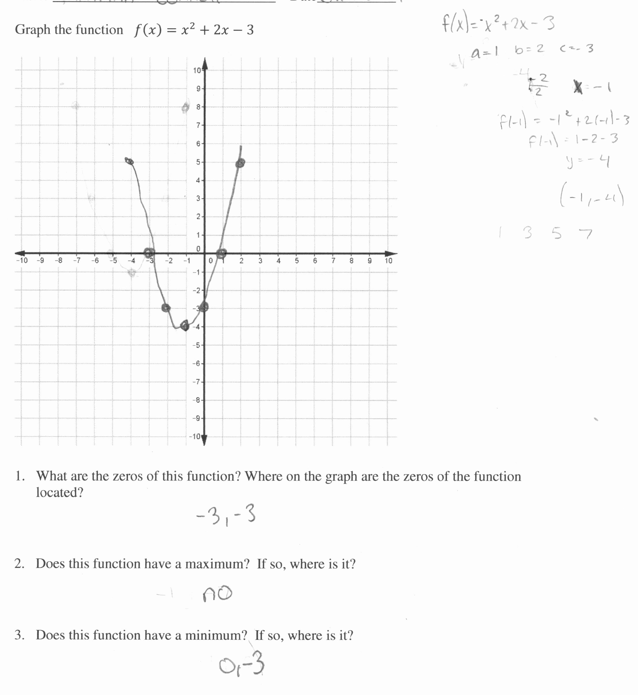 50 Quadratic Functions Worksheet Answers