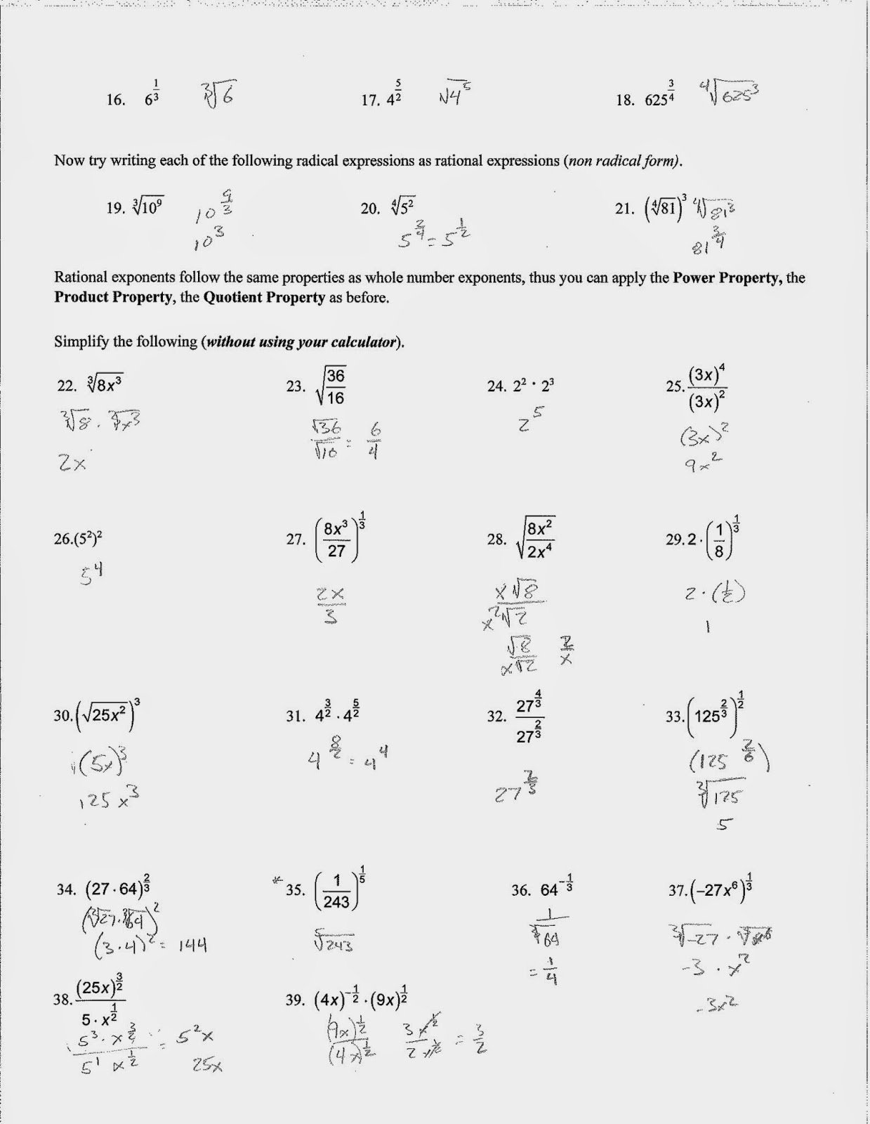 50 Radicals And Rational Exponents Worksheet