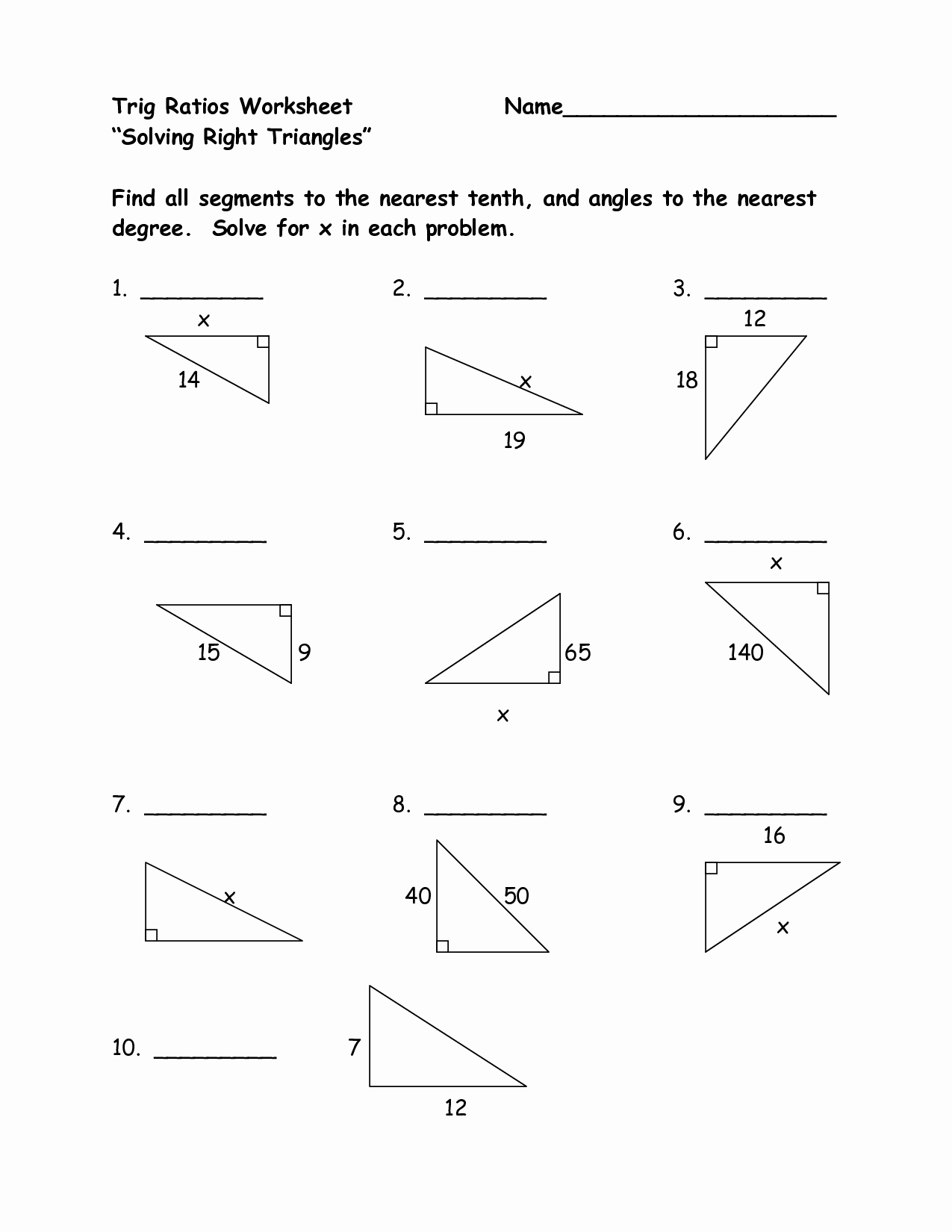 50 Right Triangle Trigonometry Worksheet