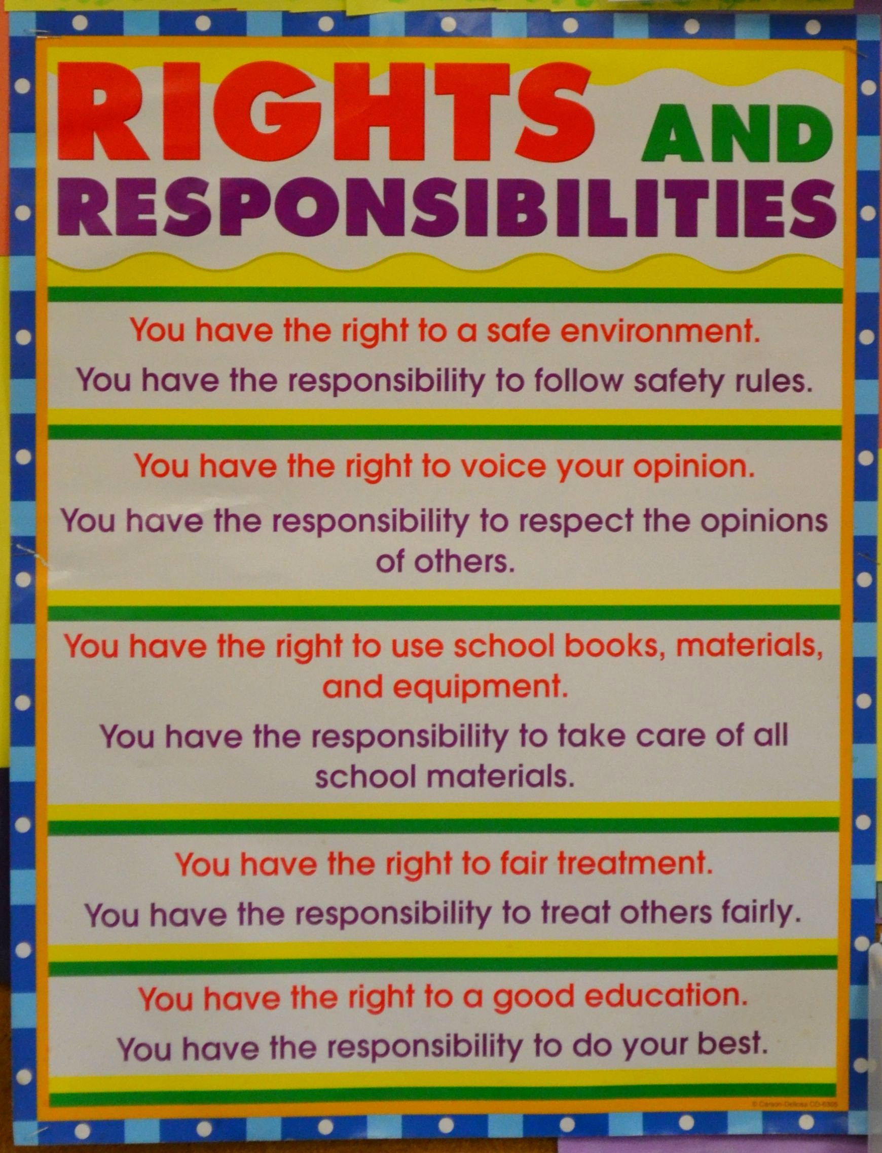 50 Rights And Responsibilities Worksheet