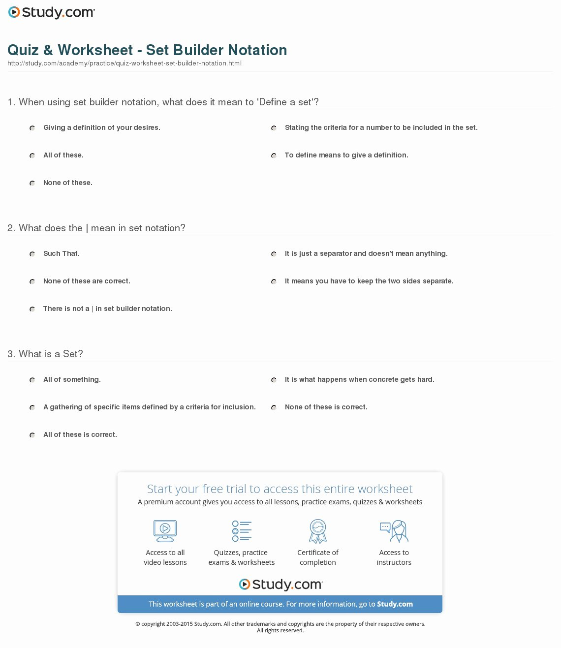 50 Set Builder Notation Worksheet