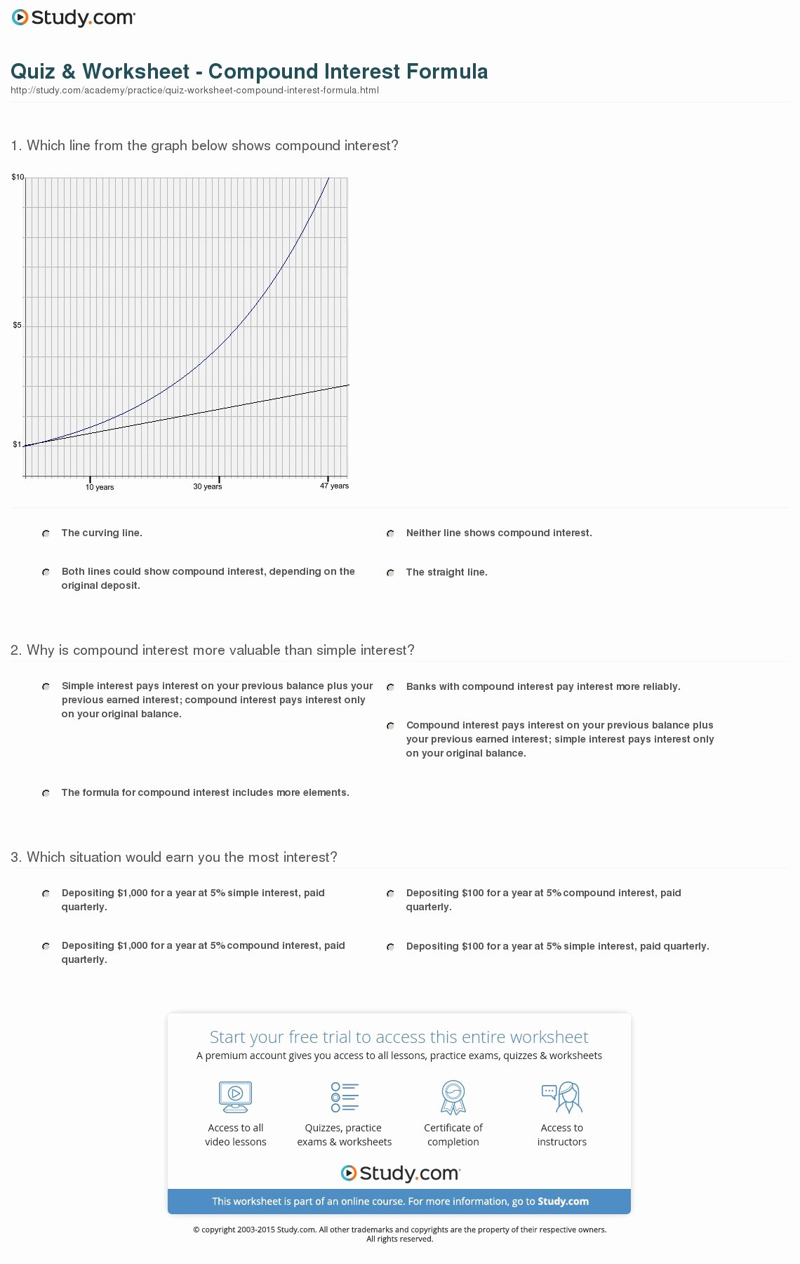 50 Simple And Compound Interest Worksheet