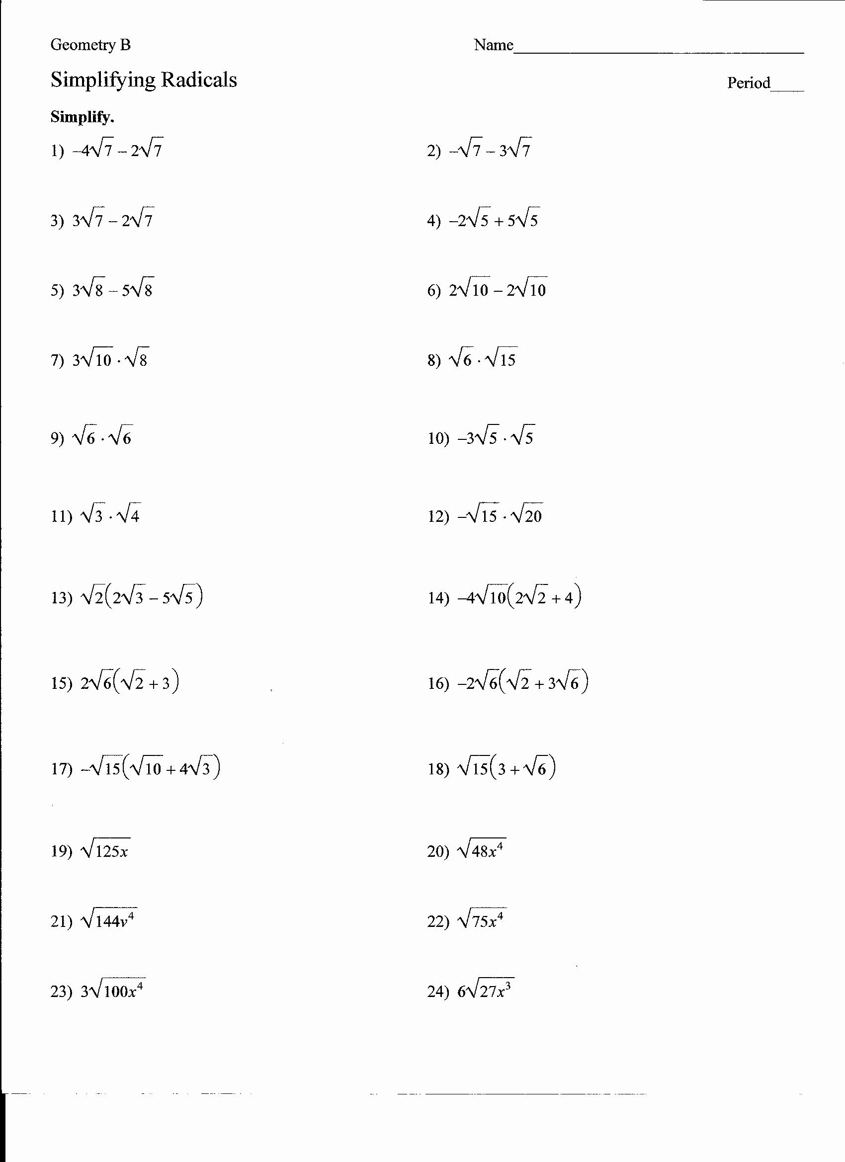 50 Simplifying Radicals Worksheet