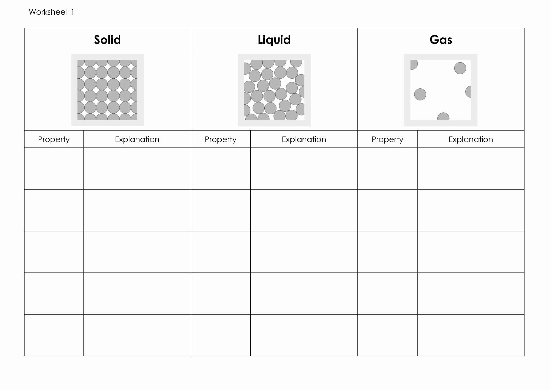 50 Solid Liquid Gas Worksheet