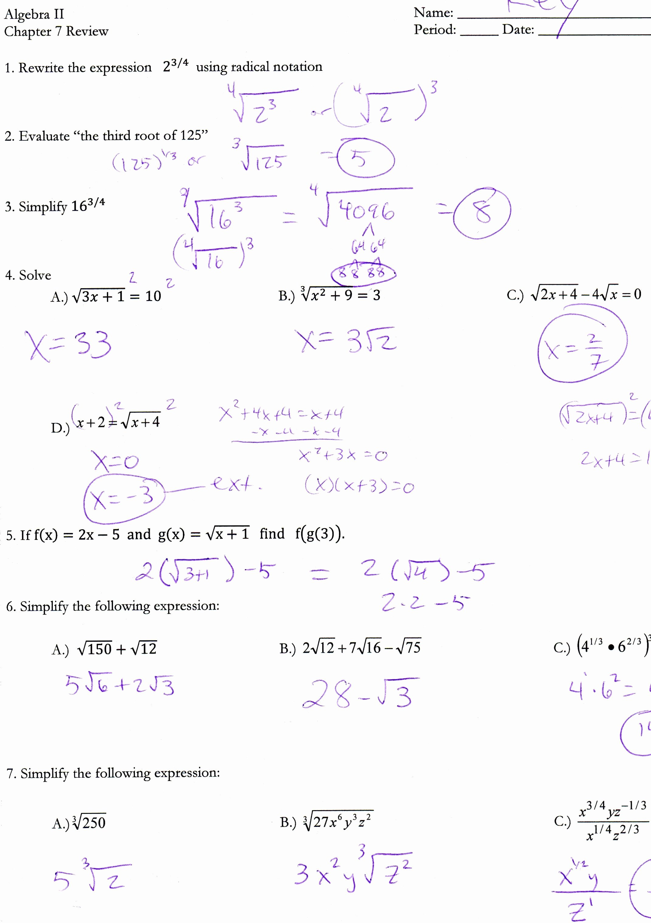Solving Equations Review Worksheet Awesome Radicals