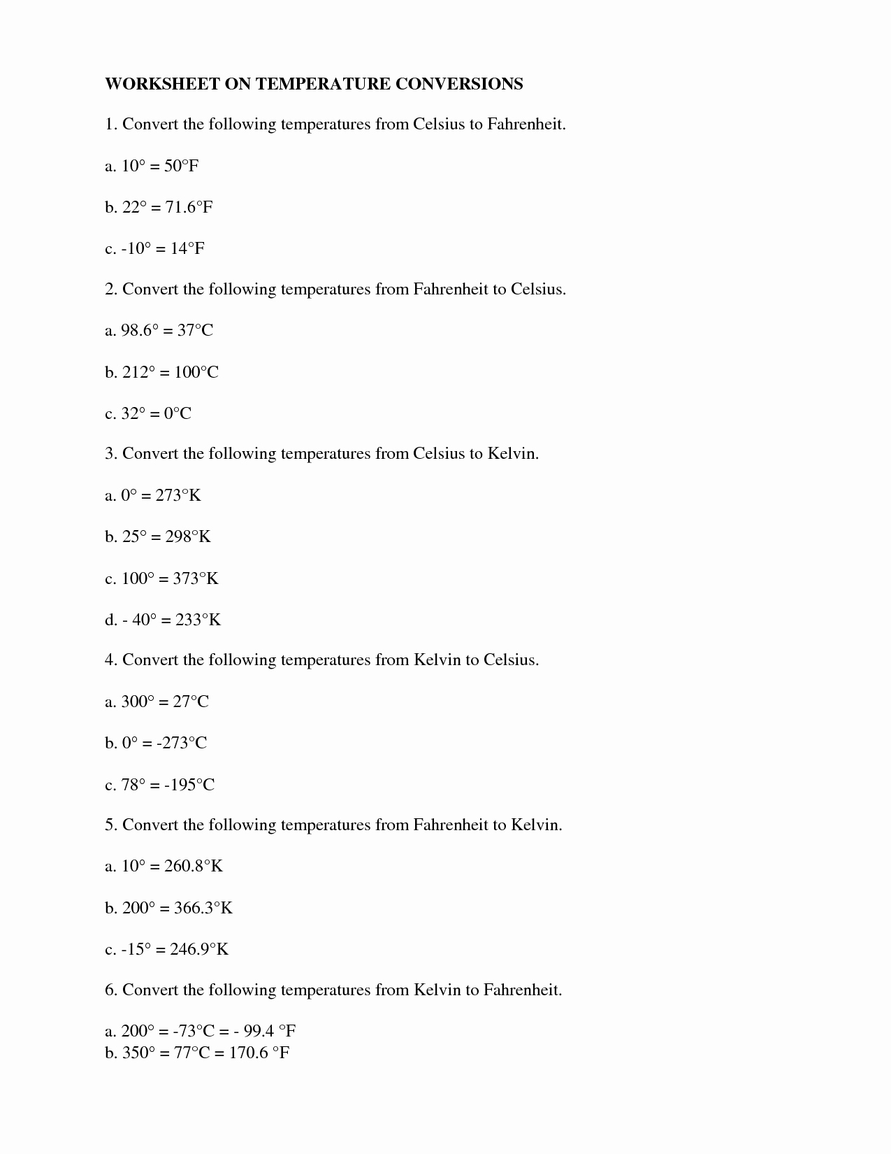 50 Temperature Conversion Worksheet Answer Key