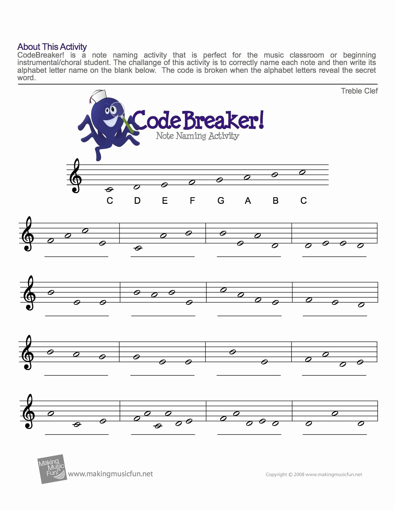 49 Treble Clef Notes Worksheet