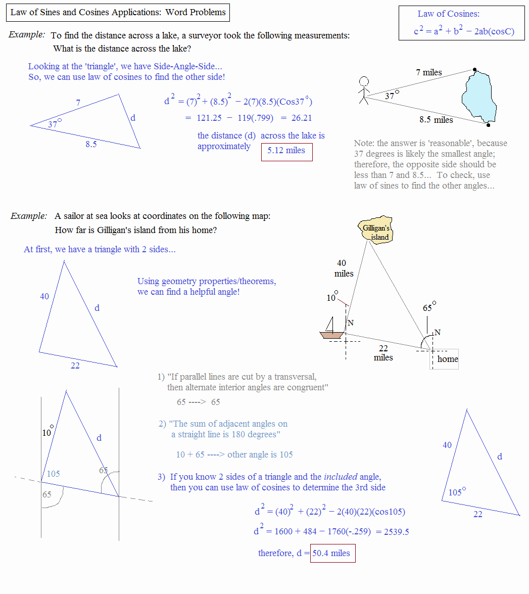 50 Trig Word Problems Worksheet Answers