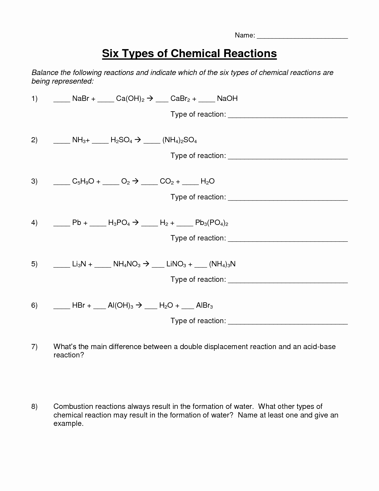 47 Types Of Chemical Reactions Worksheet