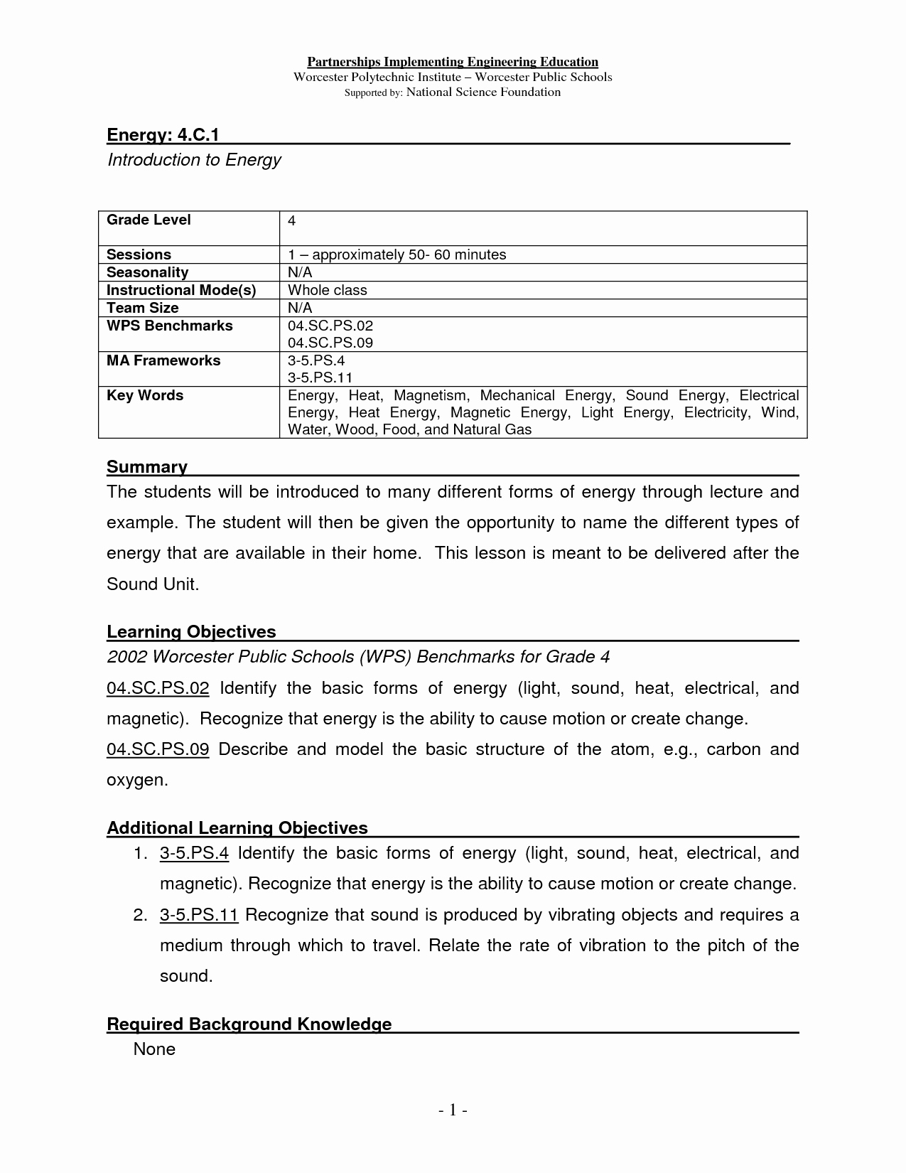 50 Types Of Energy Worksheet