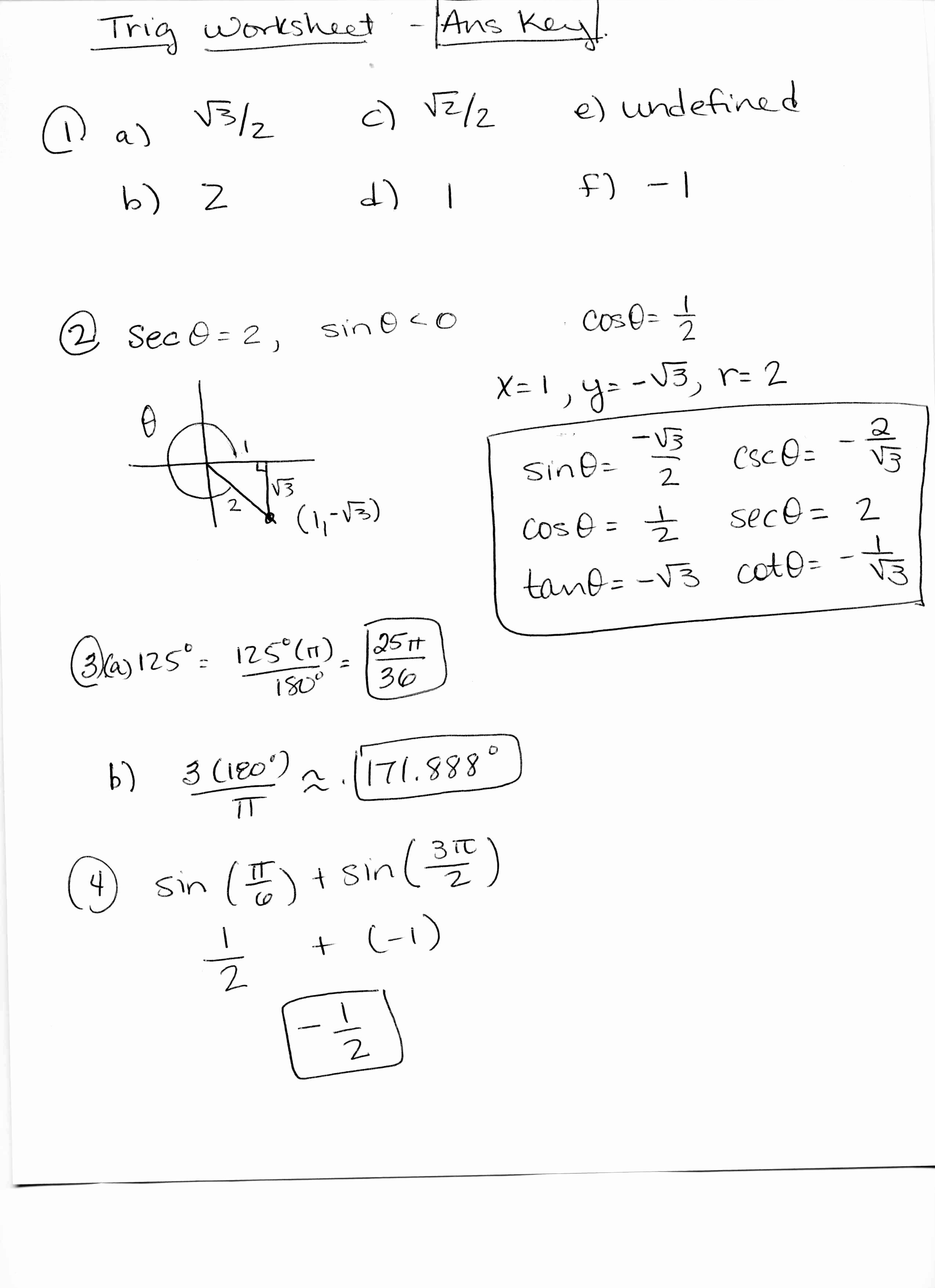 50 Unit Circle Worksheet With Answers
