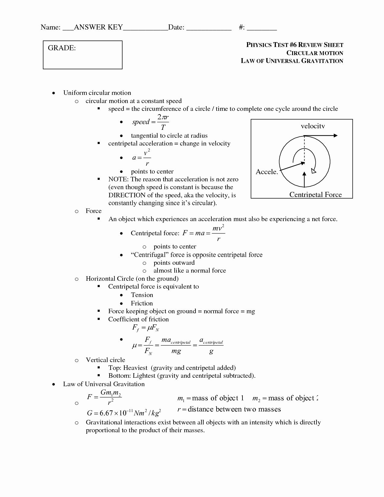 50 Universal Gravitation Worksheet Answers