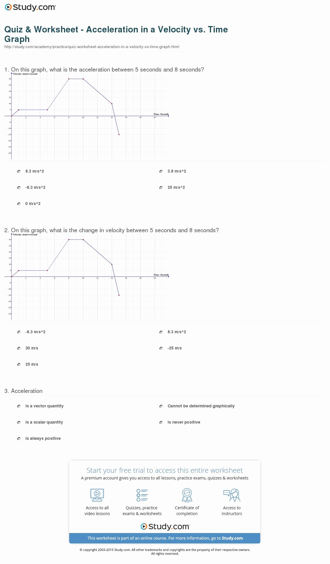 50 Velocity And Acceleration Worksheet