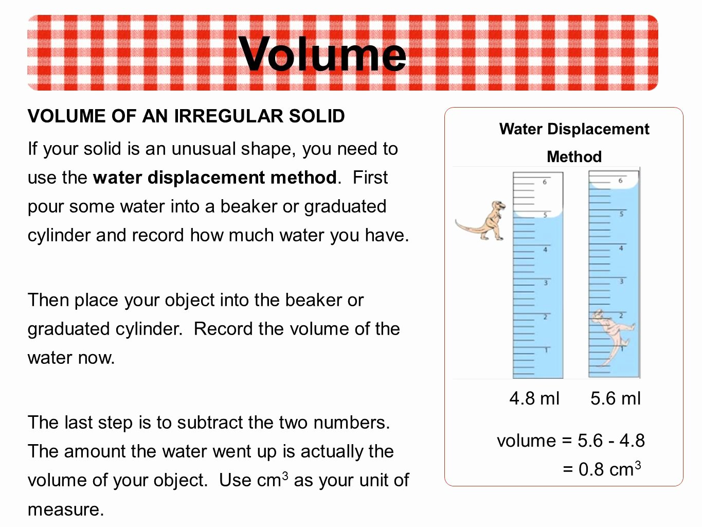 50 Volume By Water Displacement Worksheet