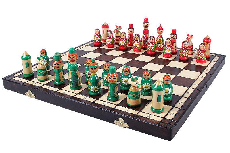 "16"" Polish Babushka Folding Chess Set"